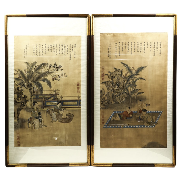 Pair of Japanese Ink Drawings on Rice Paper