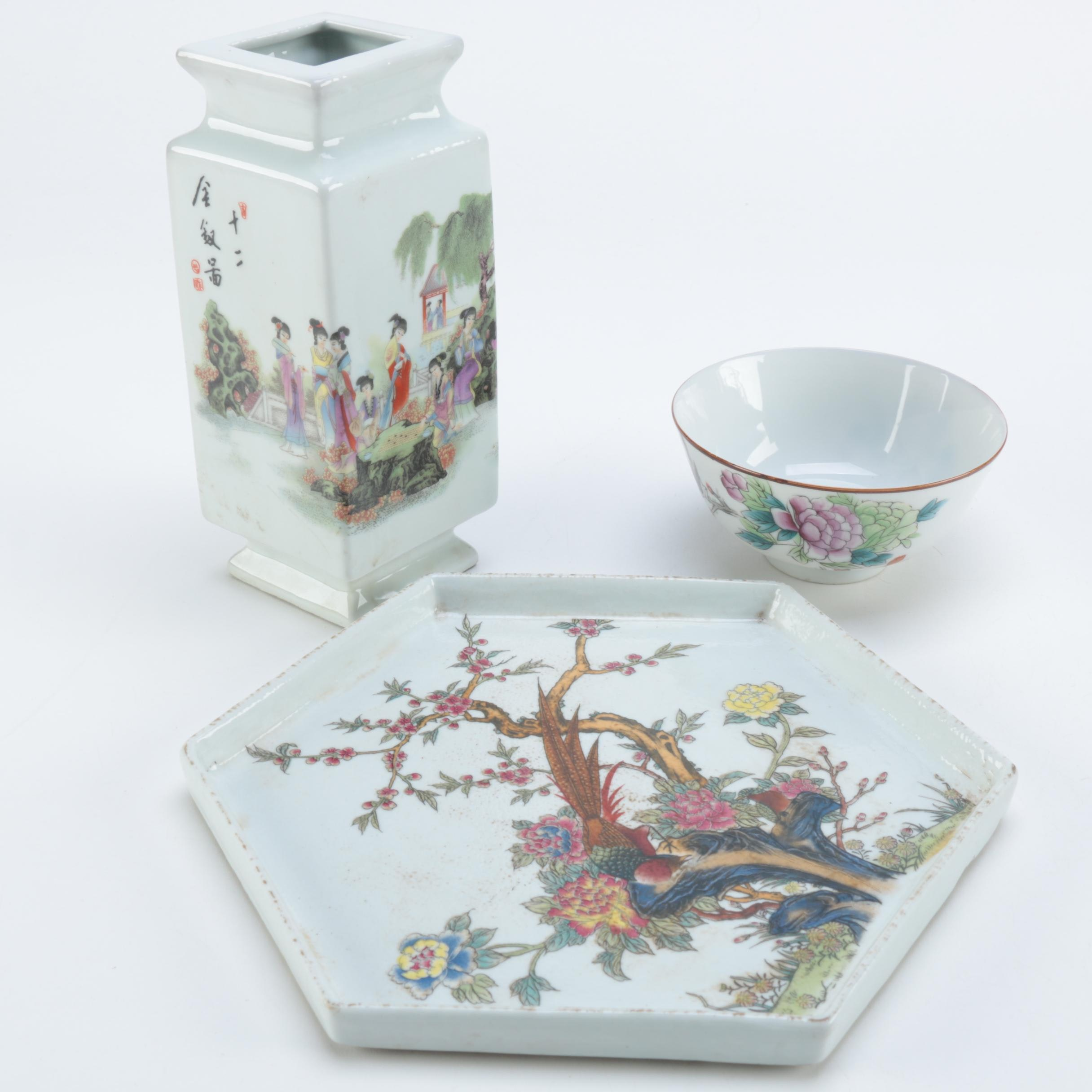 Chinese Ceramic Plate, Bowl and Vase