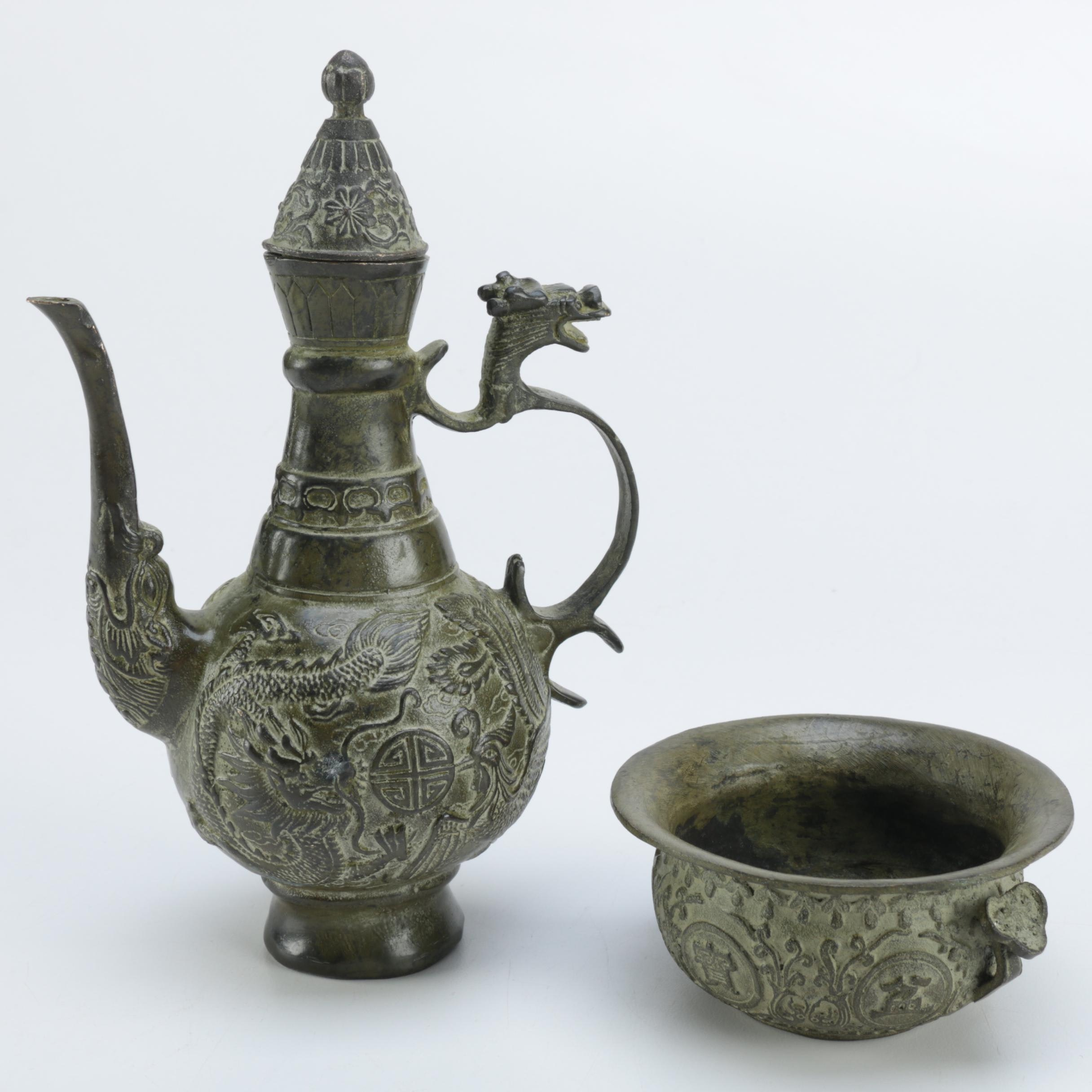 Chinese Teapot with Dragon Motif and Brass Bowl