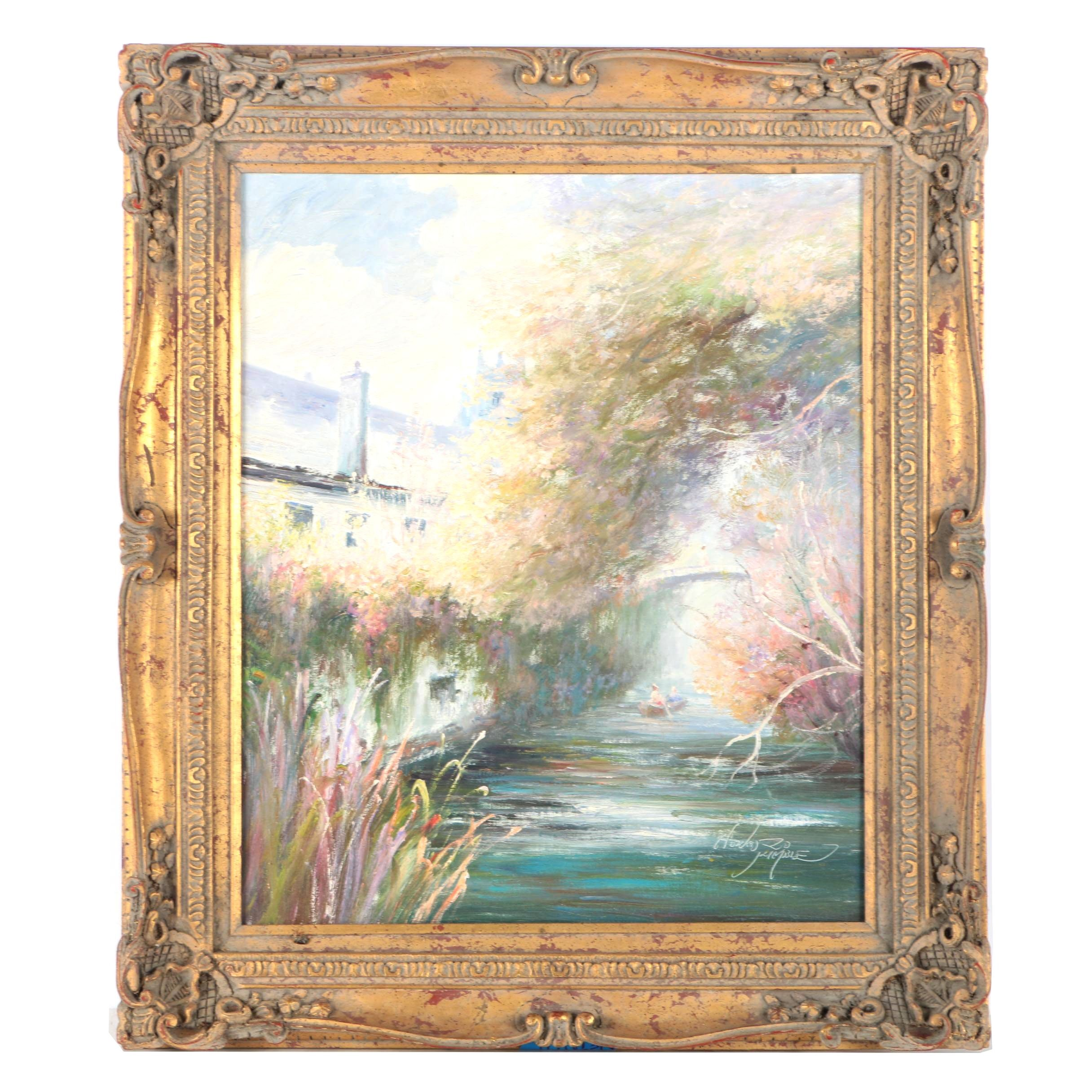 Oil Painting on Canvas Impressionist Style Canal Scene
