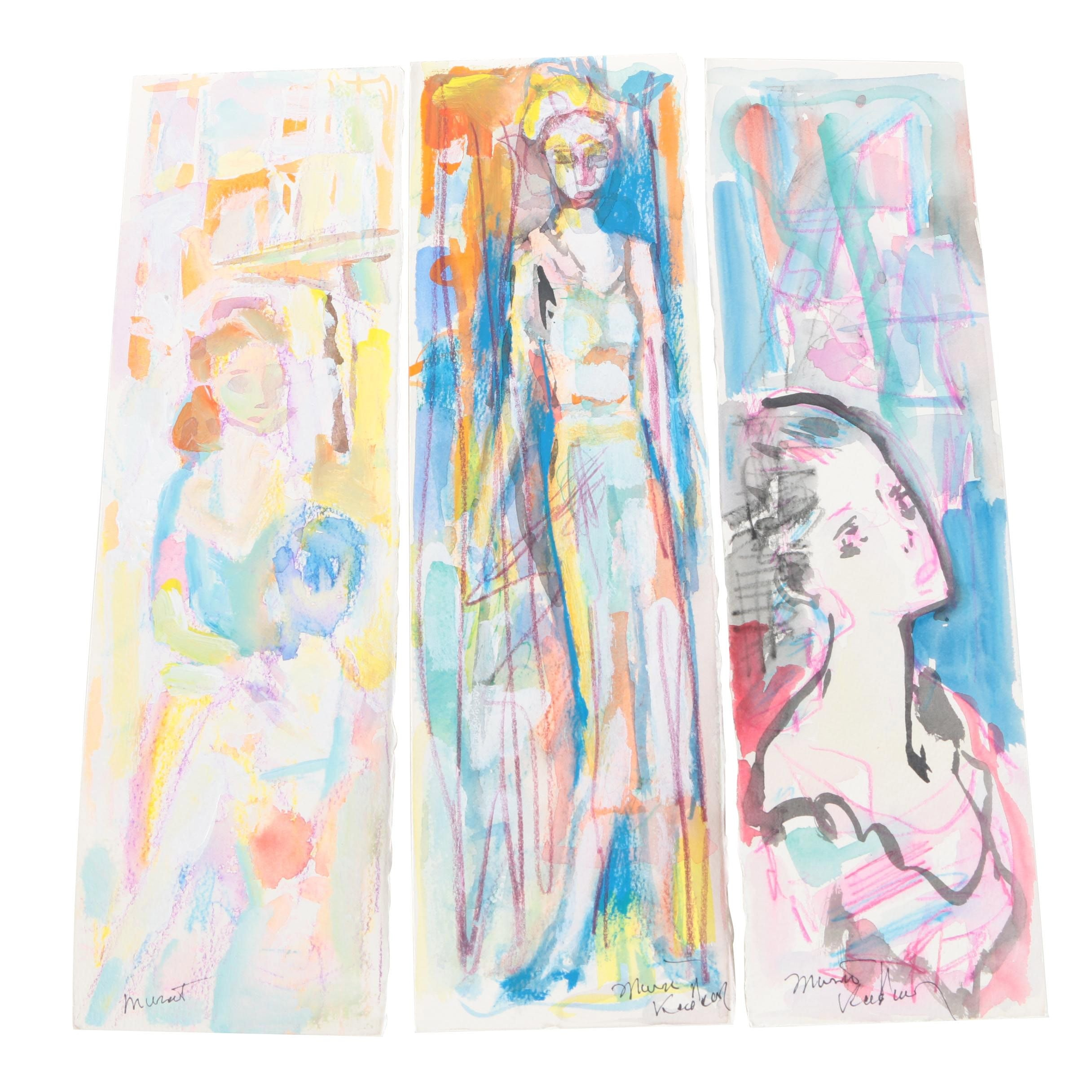 Murat Kaboulov Watercolor, Crayon and Acrylic Paintings of Women