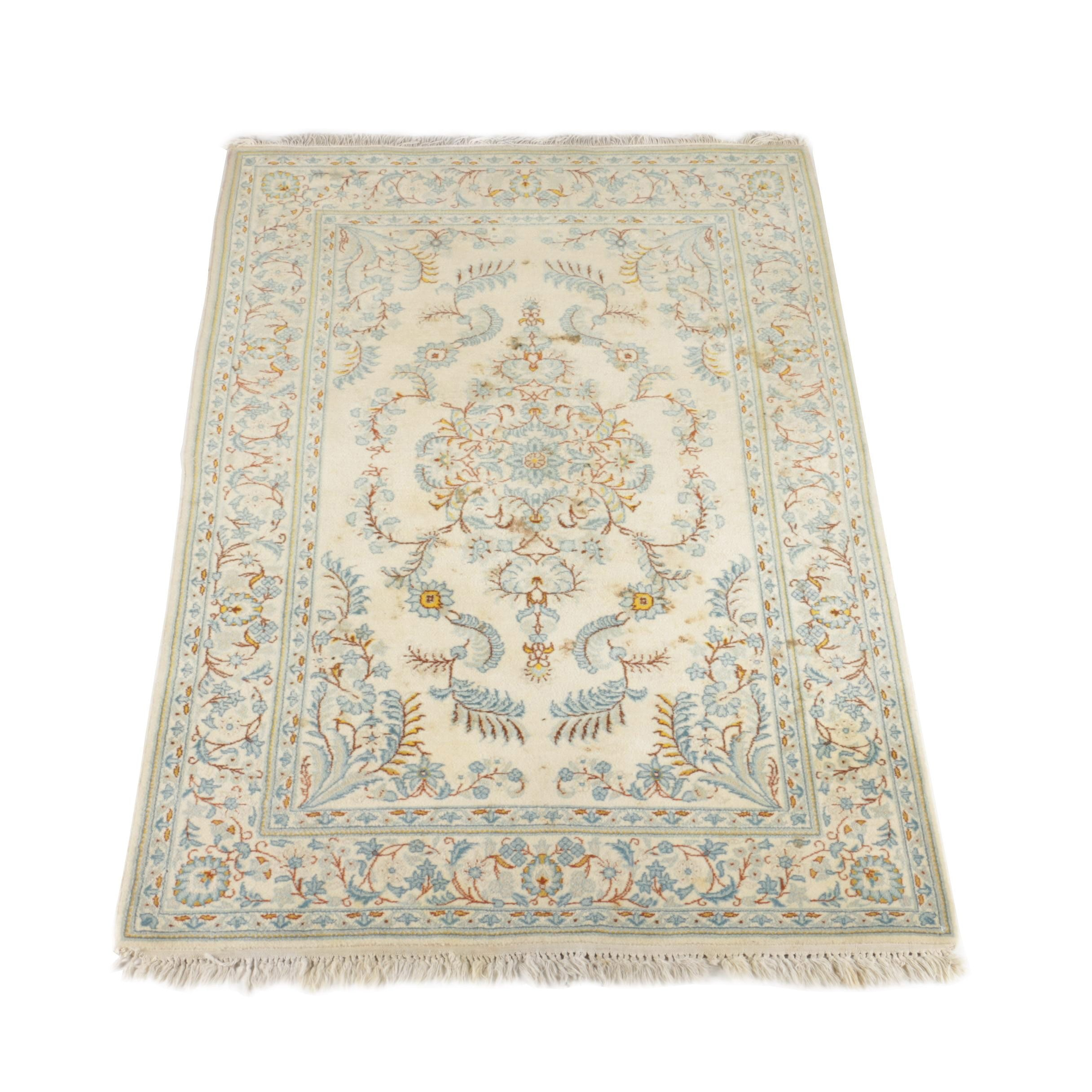 Hand-Knotted Kerman Style Wool Area Rug
