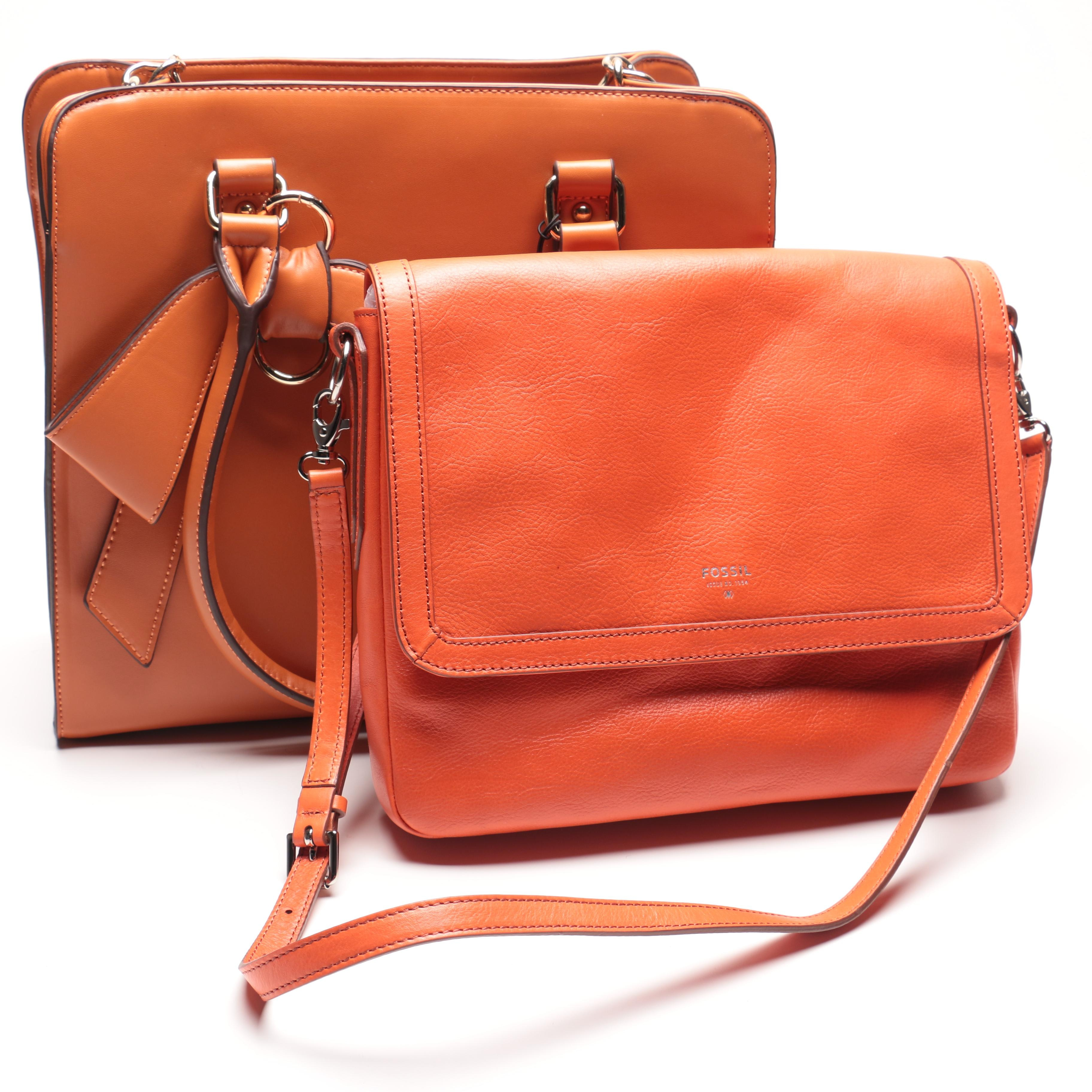 Pair of Handbags Featuring Fossil