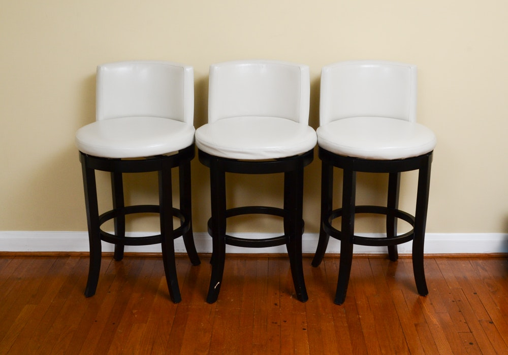 Set of Contemporary White Leather Bar Stools