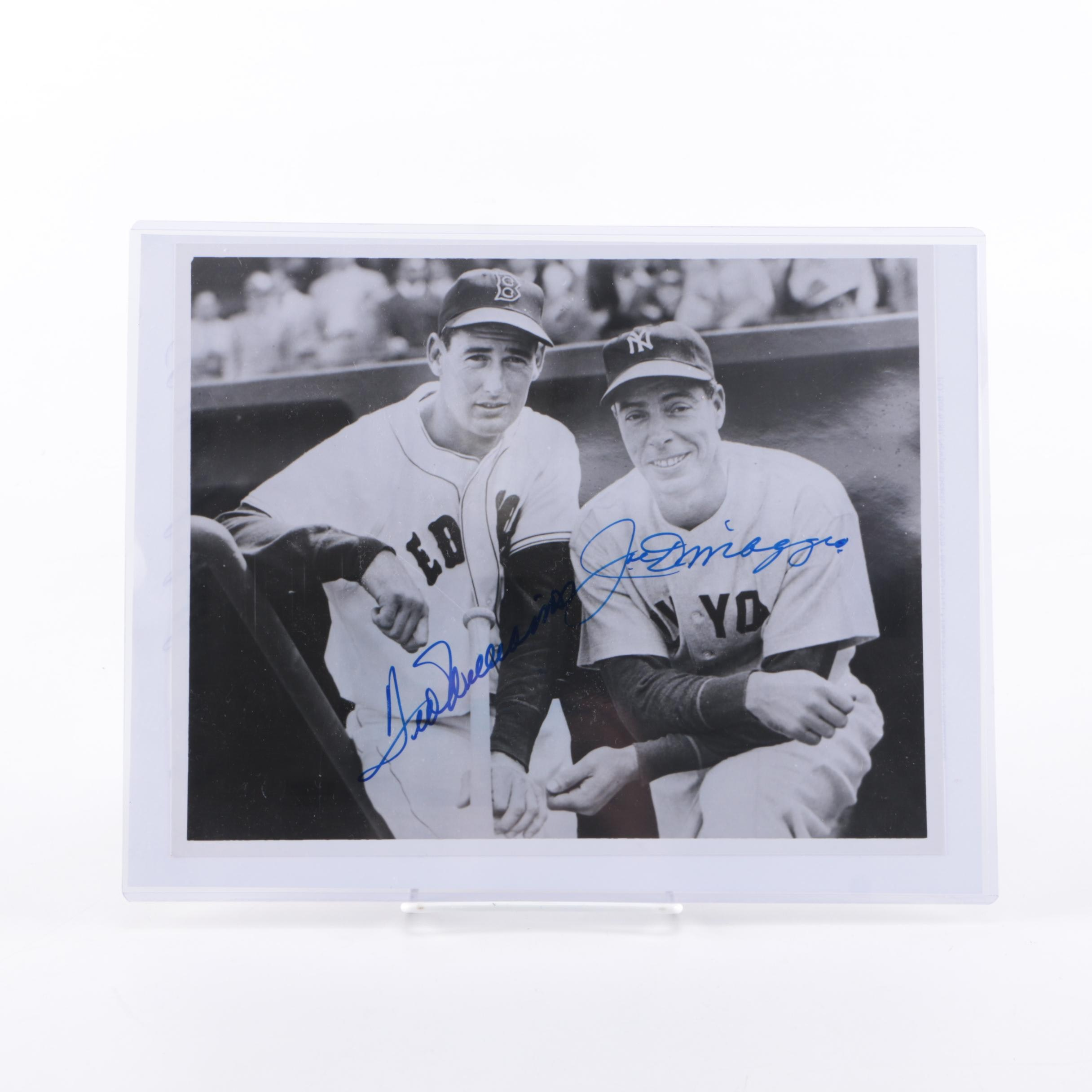 Joe Dimaggio and Ted Williams Signed Photo - COA