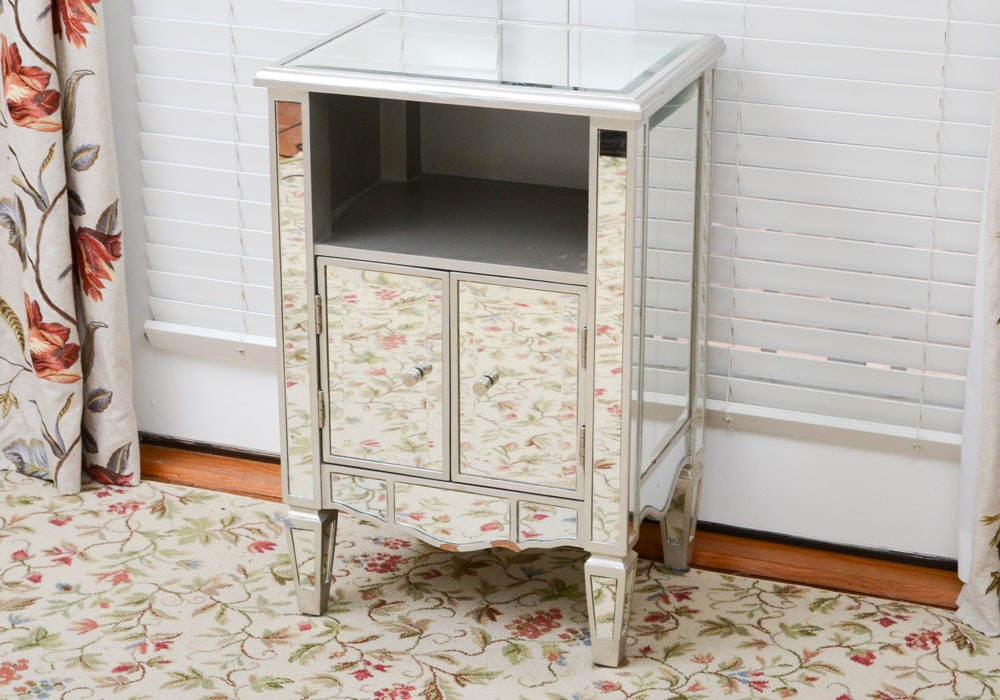 Hollywood Regency Style Mirrored Side Table
