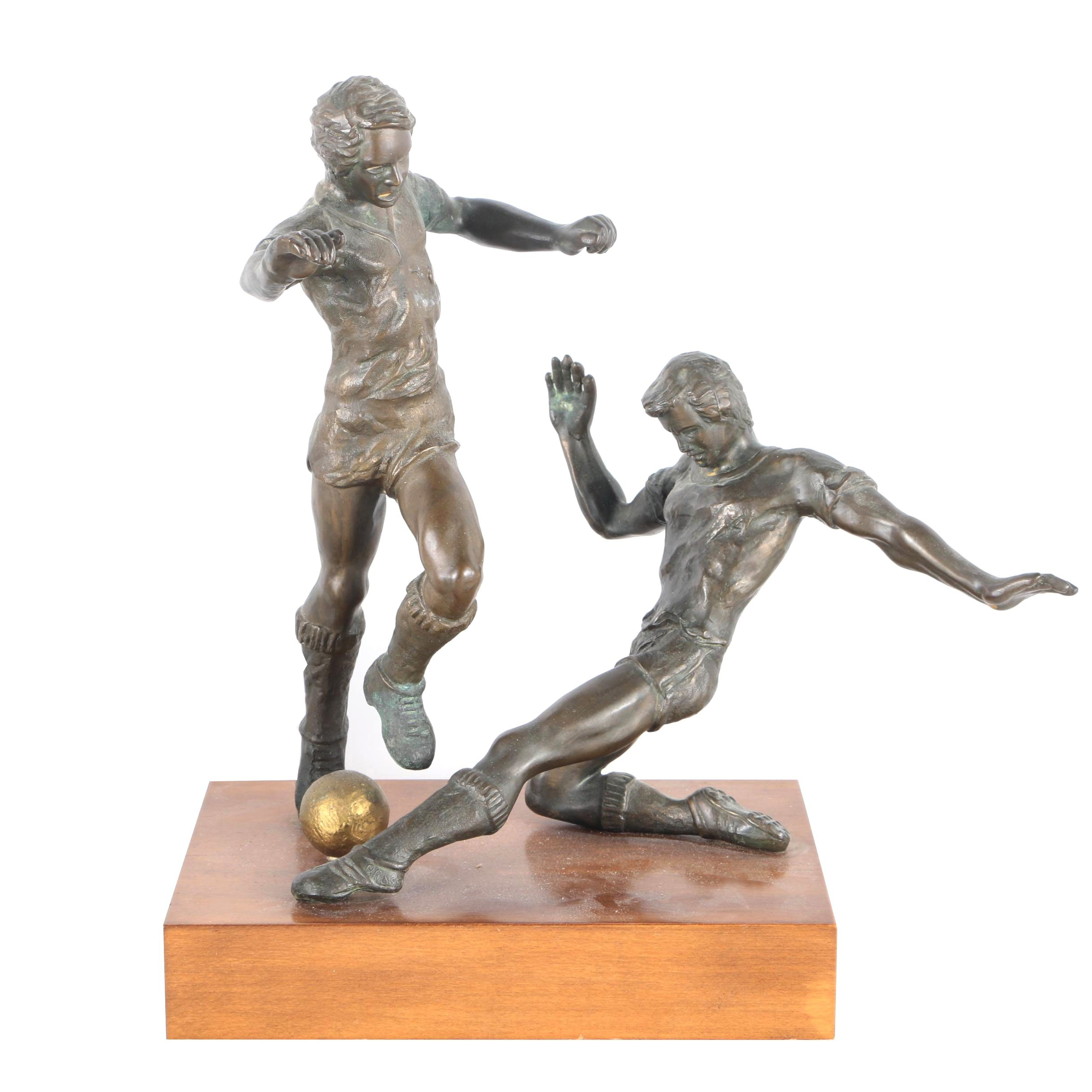 Bronze Sculpture of Two Soccer Players