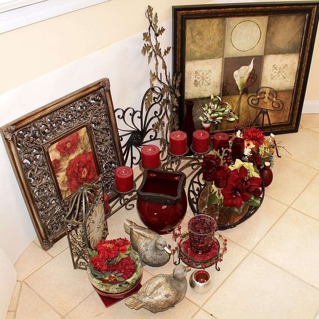 Mixed Decor Assortment of Wrought Iron and Red