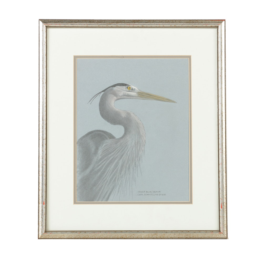 "Carl Schmuelling Mixed Media Drawing on Paper ""Great Blue Heron"""