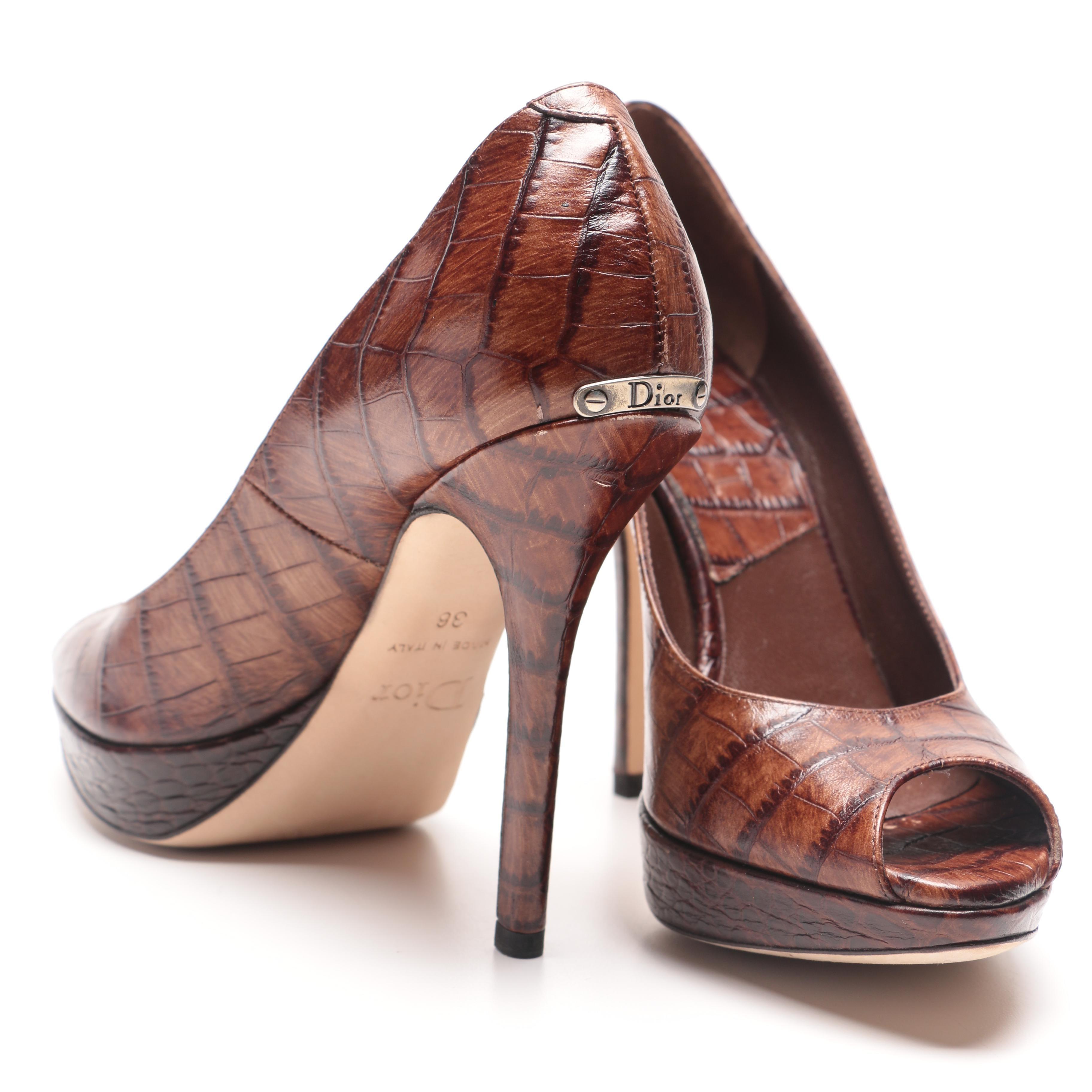 Dior Embossed Leather Peep Toe Heels