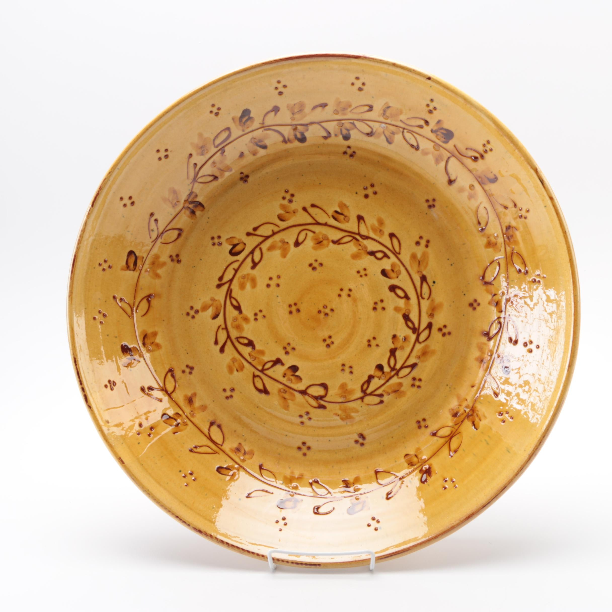 Rustic Hand-Painted French Terracotta Bowl