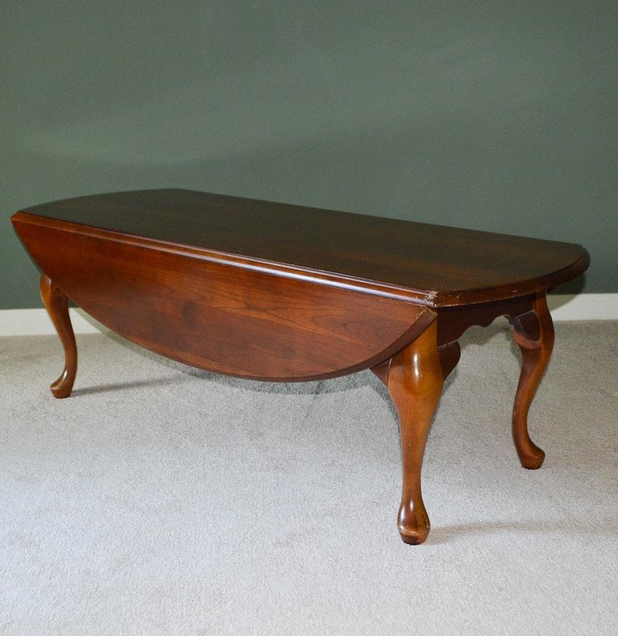 Queen Anne Style Cherry Veneer Drop Leaf Coffee Table