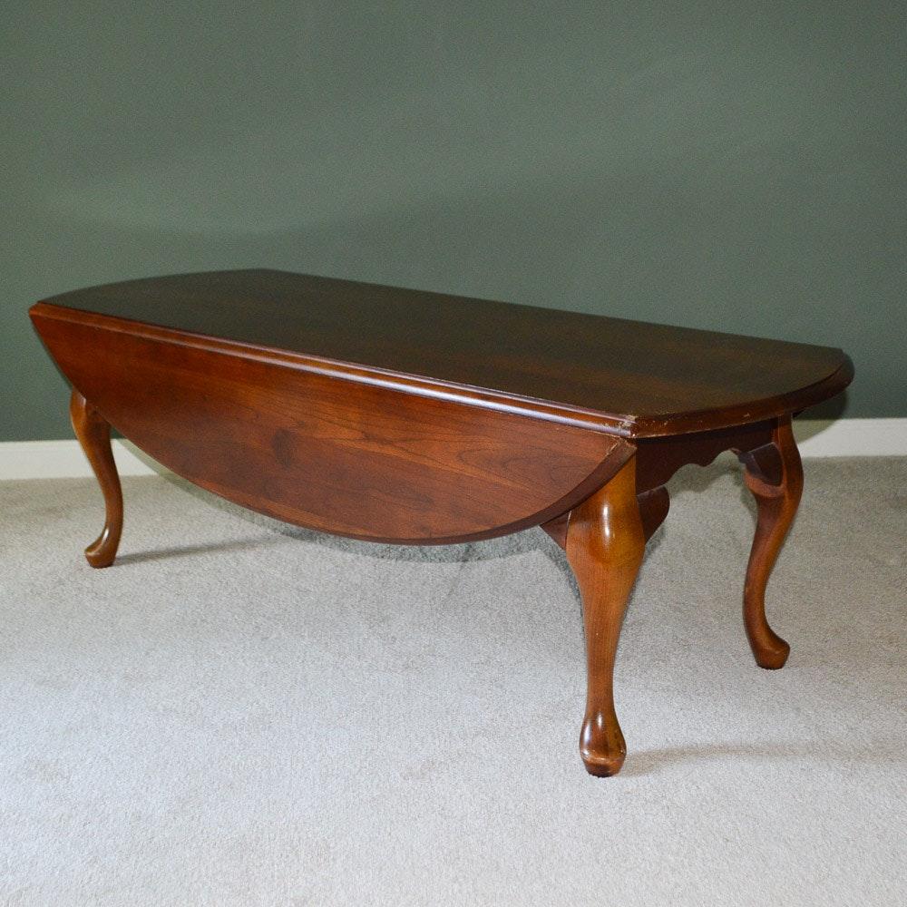 Queen Anne Style Cherry Veneer Drop Leaf Coffee Table ...