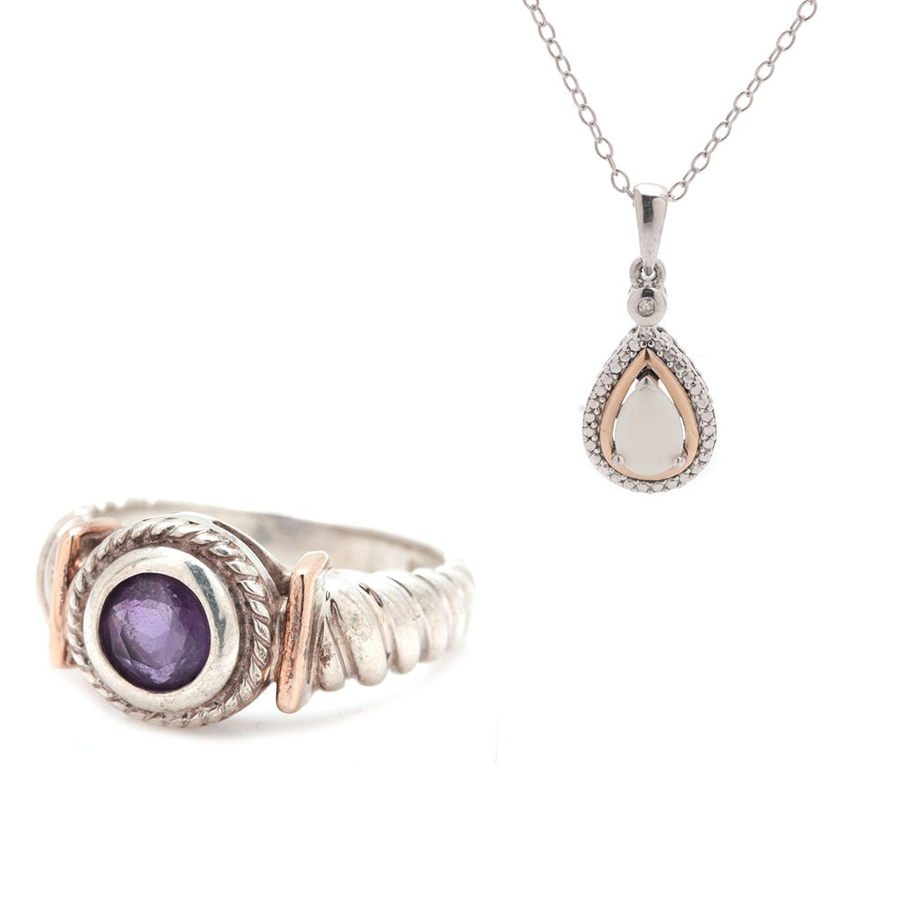 Sterling Silver Amethyst and Opal Jewelry Selection