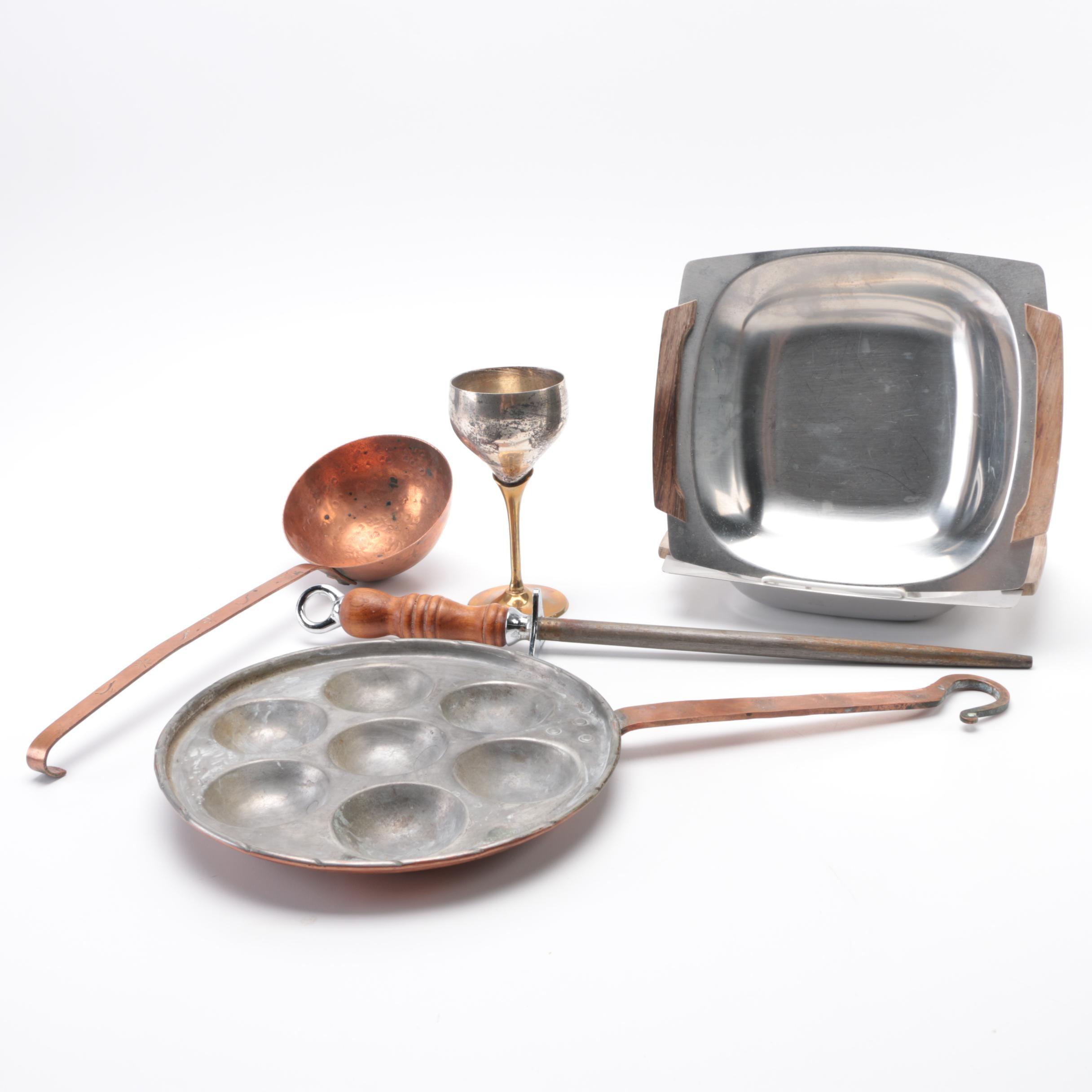 Assortment of Metal Kitchen Serveware