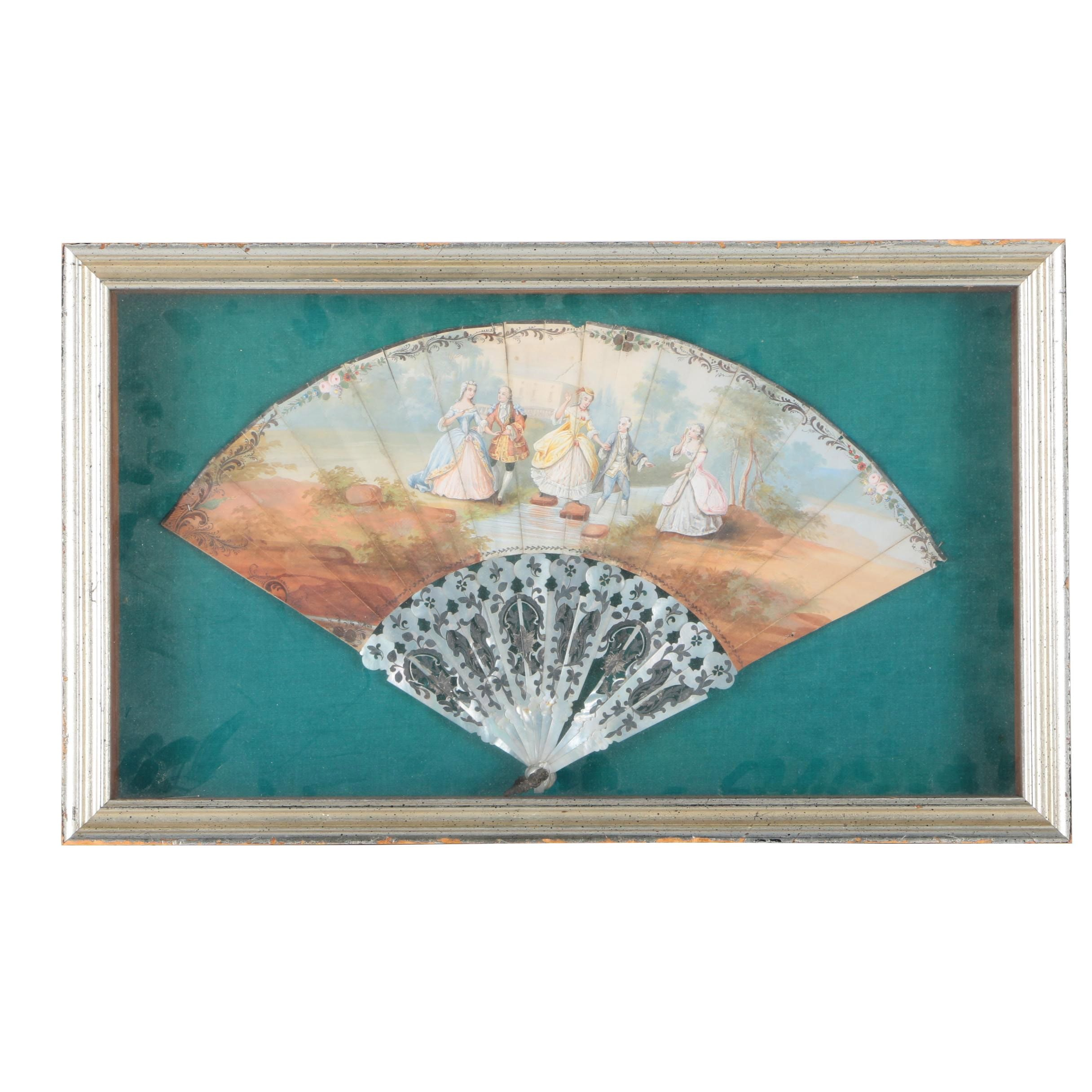 Framed Decorative Fan With Hand Painted Scene