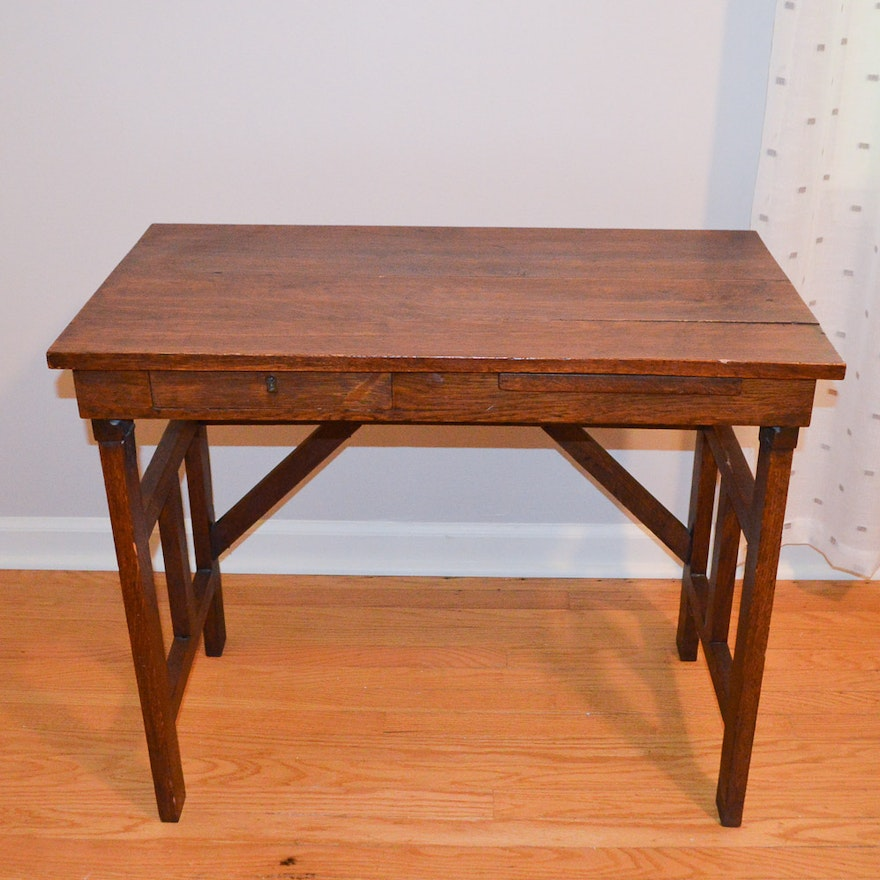 Antique Arts and Crafts Oak Writing Desk With Folding Legs ... - Antique Arts And Crafts Oak Writing Desk With Folding Legs : EBTH