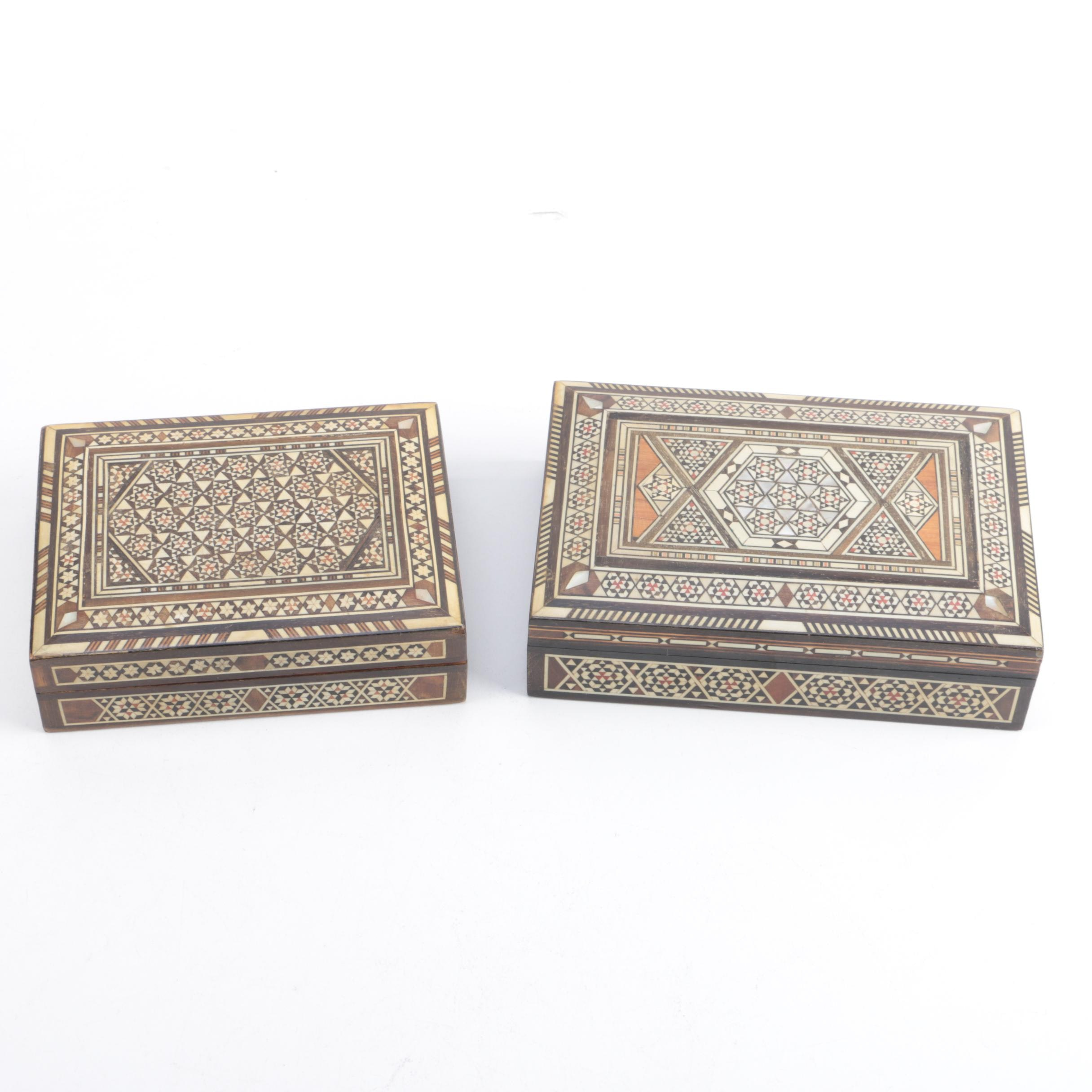 Two Inlaid Wooden Boxes