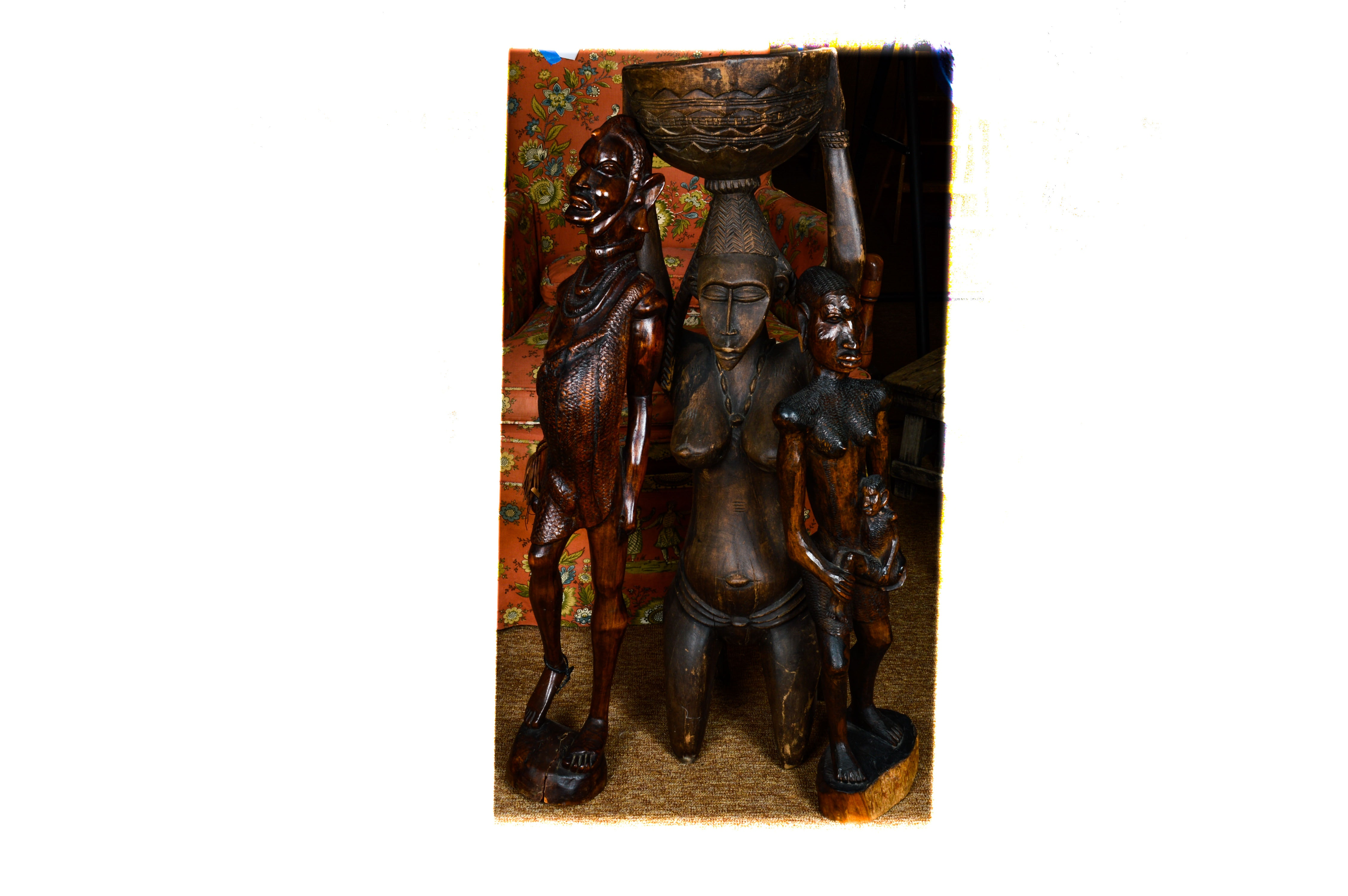 Three African Carved Wood Sculptures