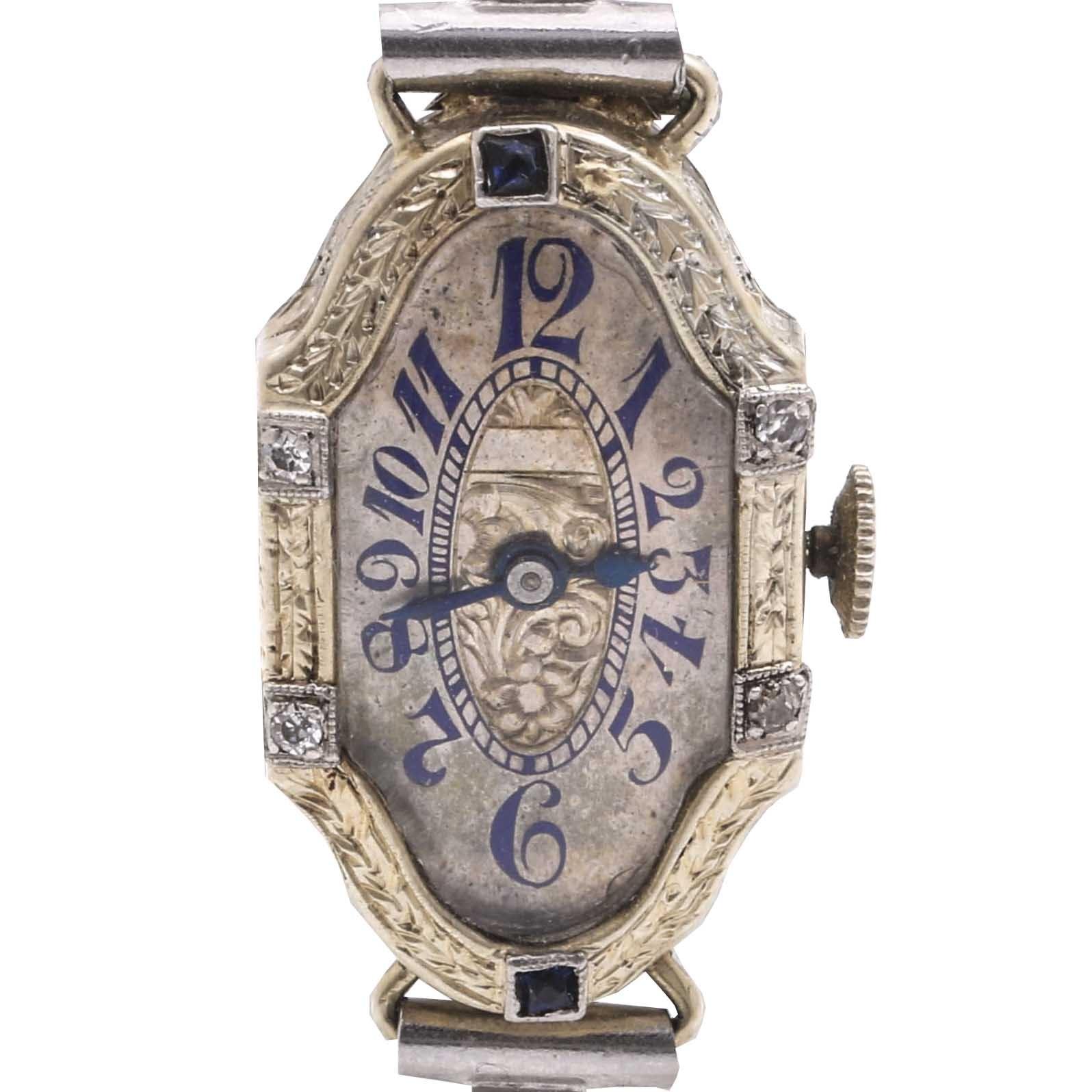 Antique 20K White Gold with Platinum Trim Diamond and Sapphire Wristwatch