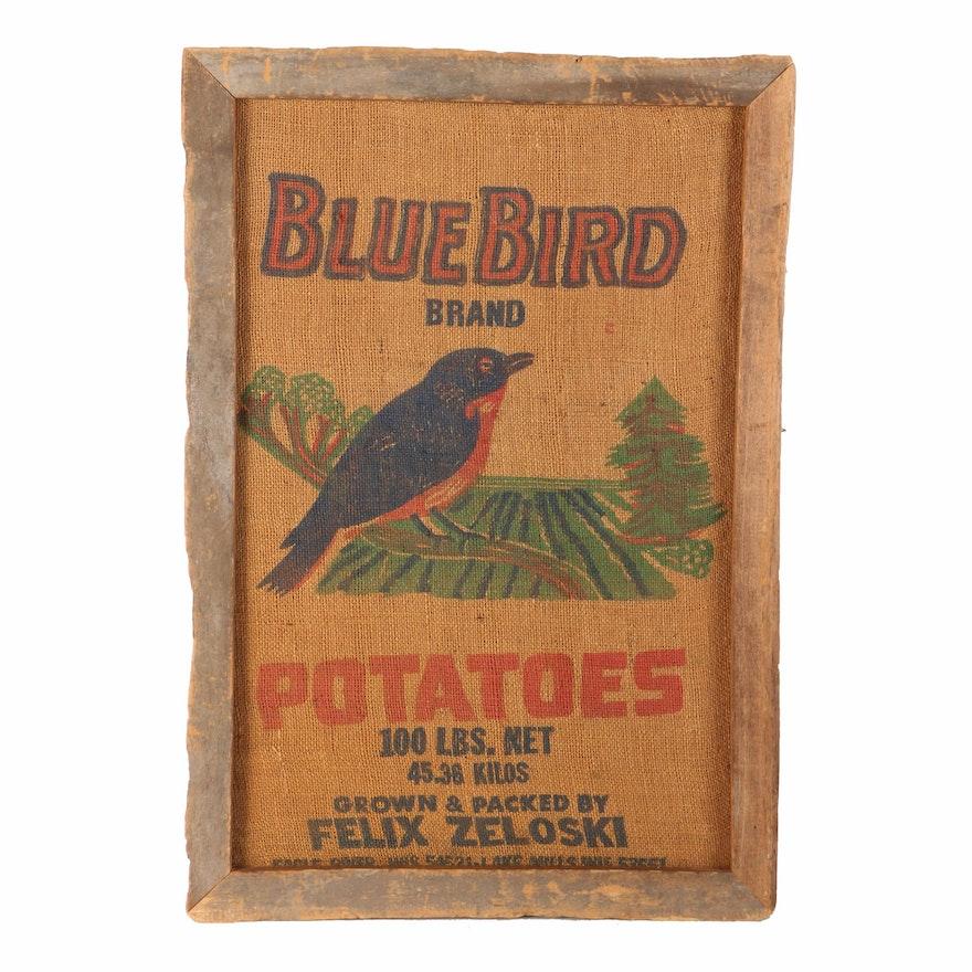 Framed Burlap Sack For Blue Bird Brand Potatoes