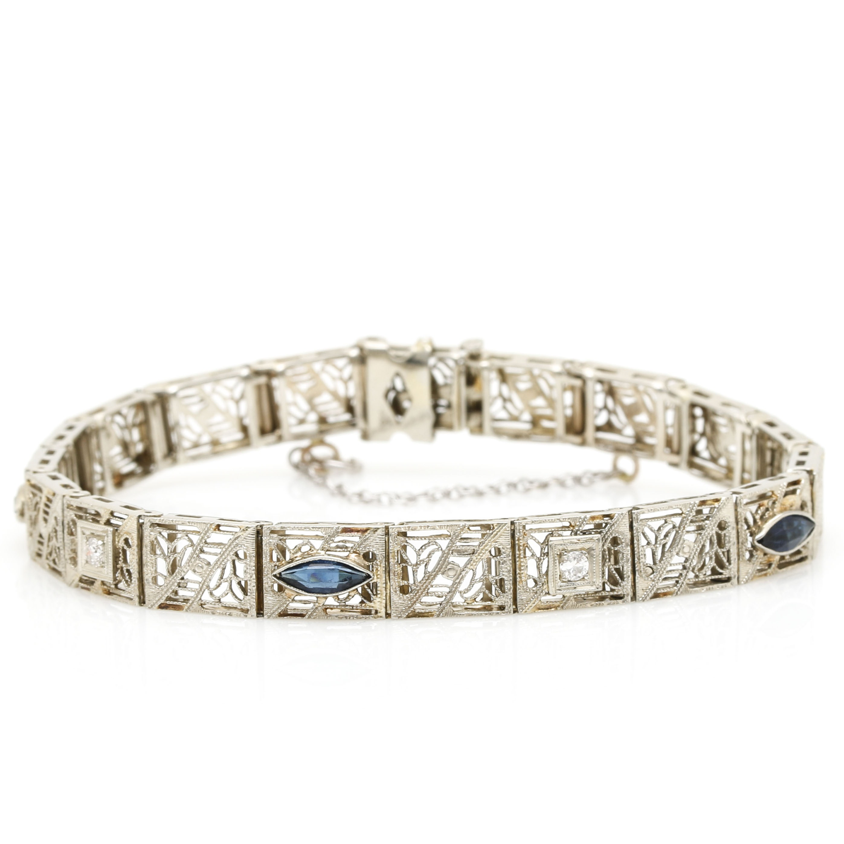 14K White Gold Diamonds and Glass Accents Bracelet