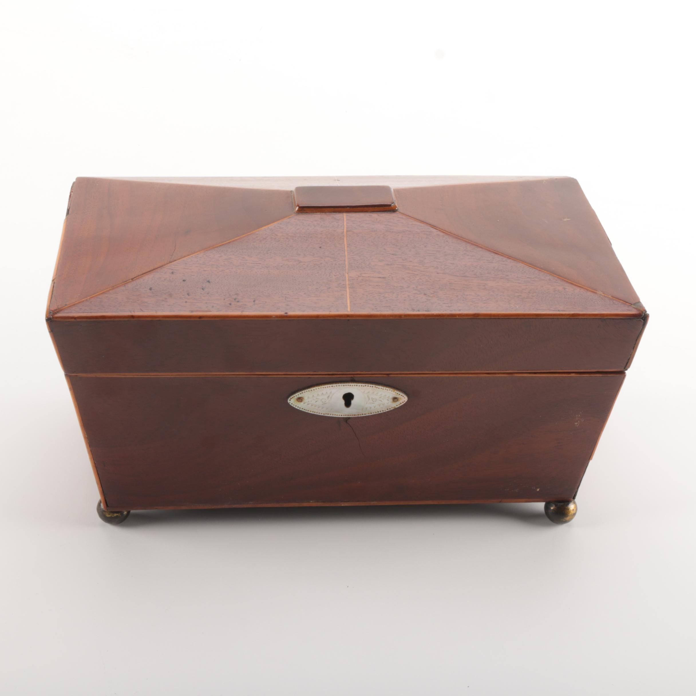 Wood Box with Mother of Pearl Keyhole