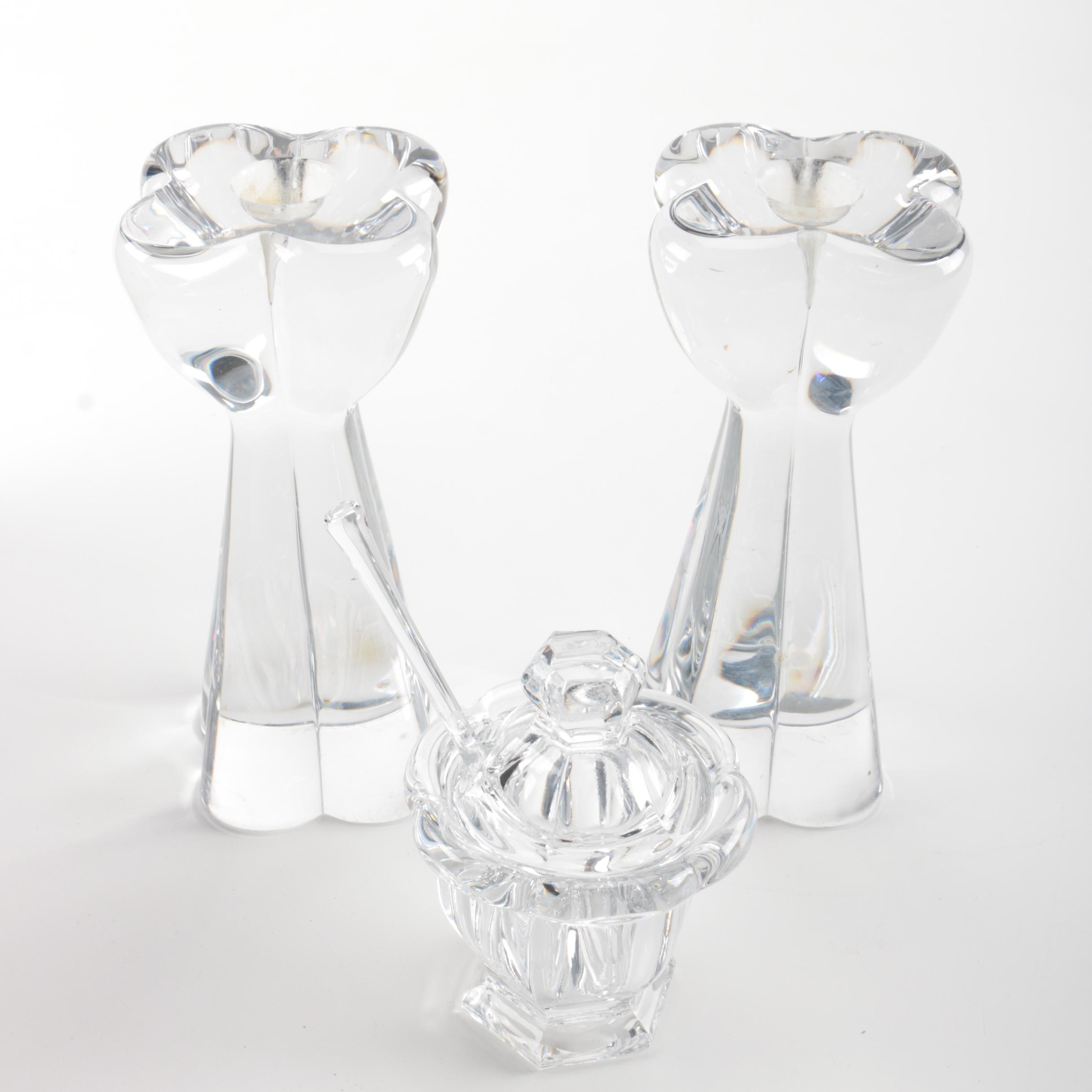 Pair of Baccarat Candlesticks and Sugar Bowl