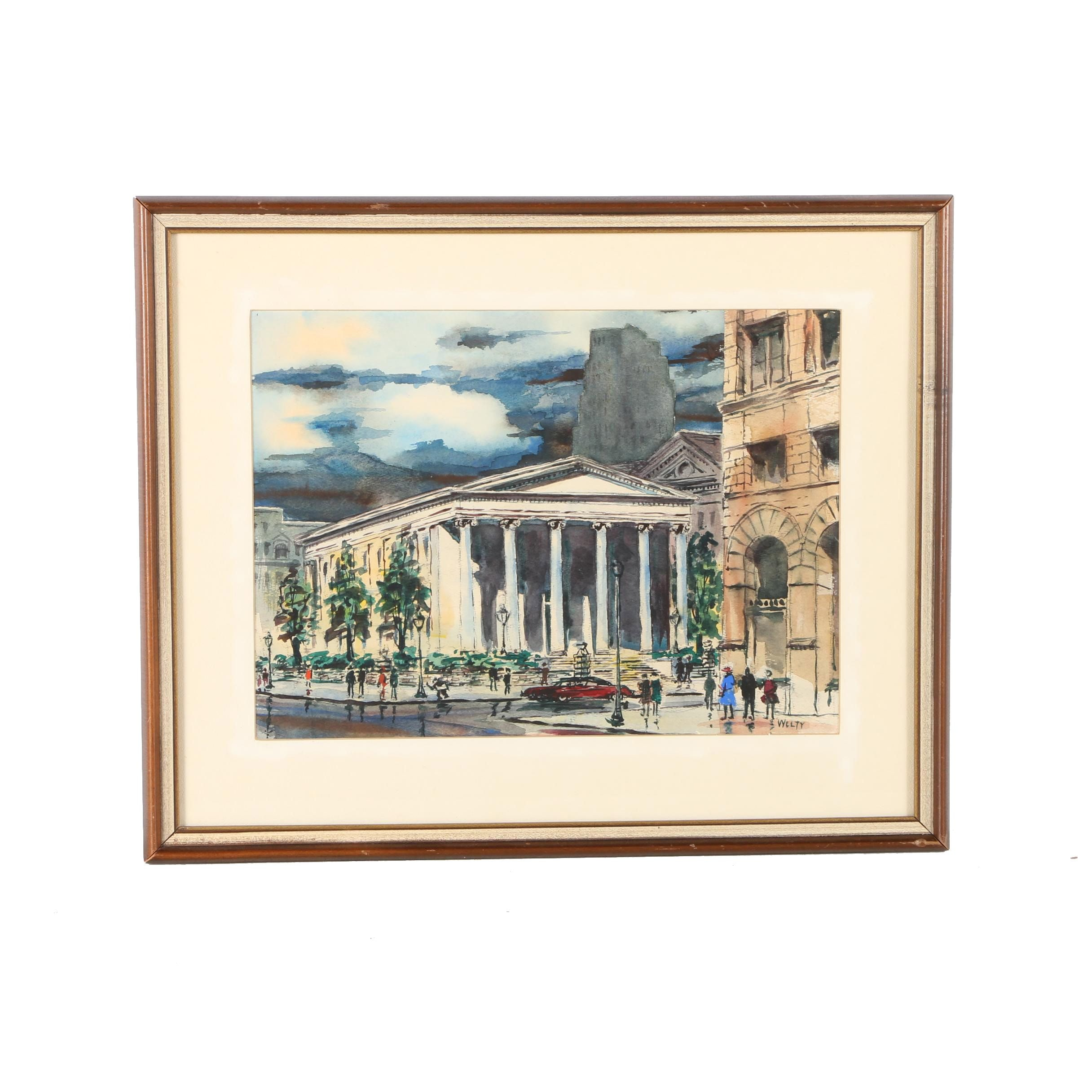 """Wilbert N. Welty Watercolor """"Montgomery County Court House"""""""