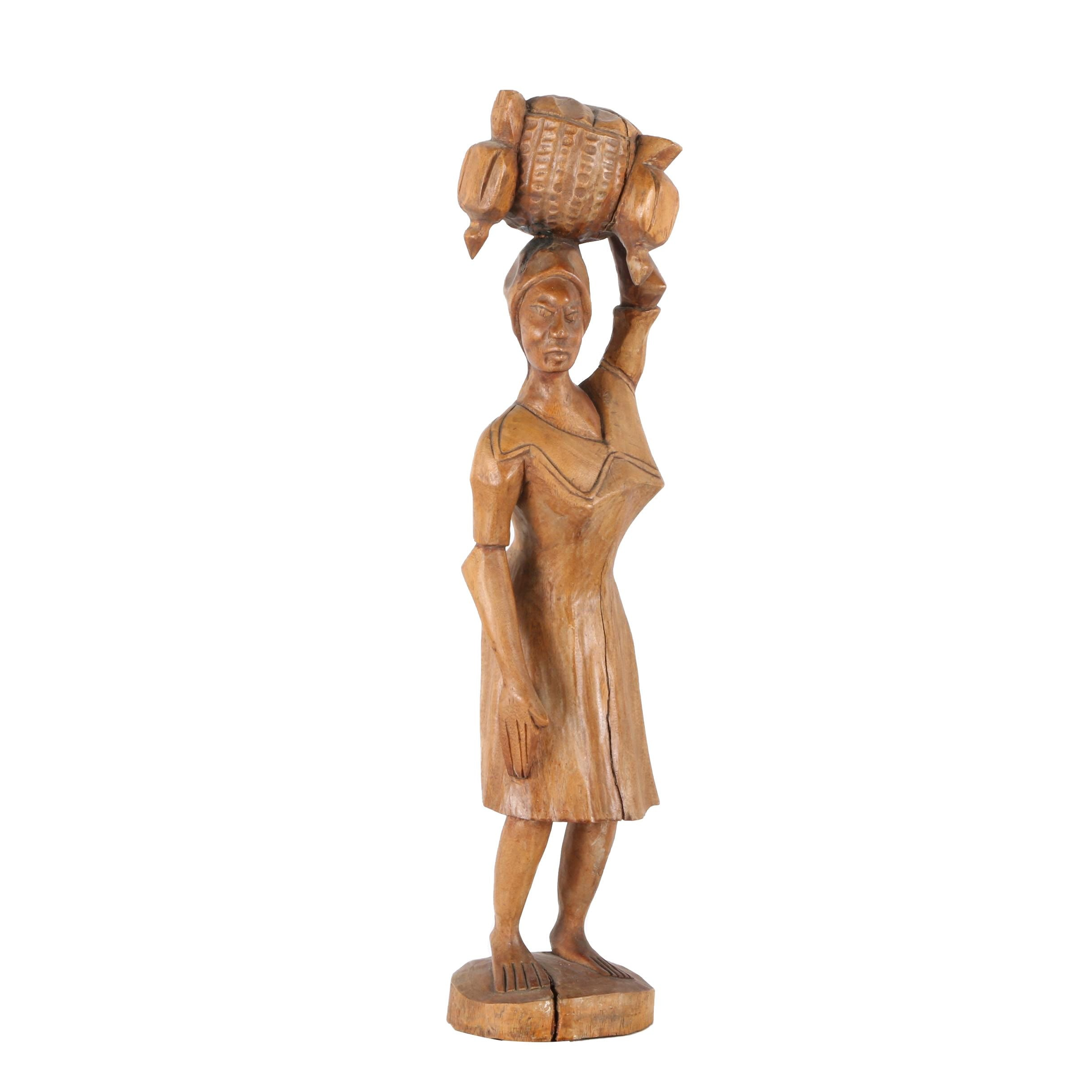 Carved Wooden Sculpture of Woman