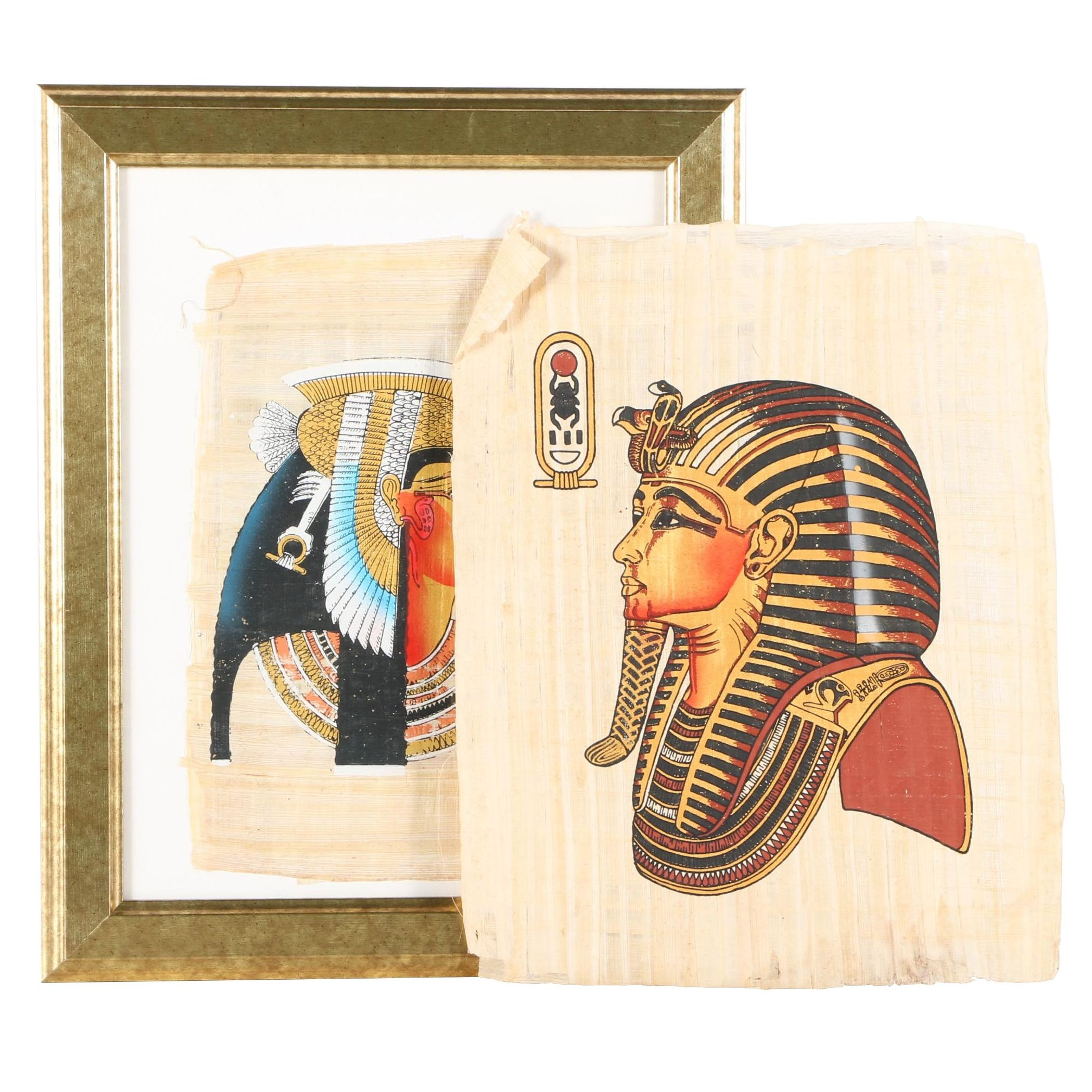 Serigraph Prints on Papyrus of Egyptian Rulers Cleopatra and Tutankhamun
