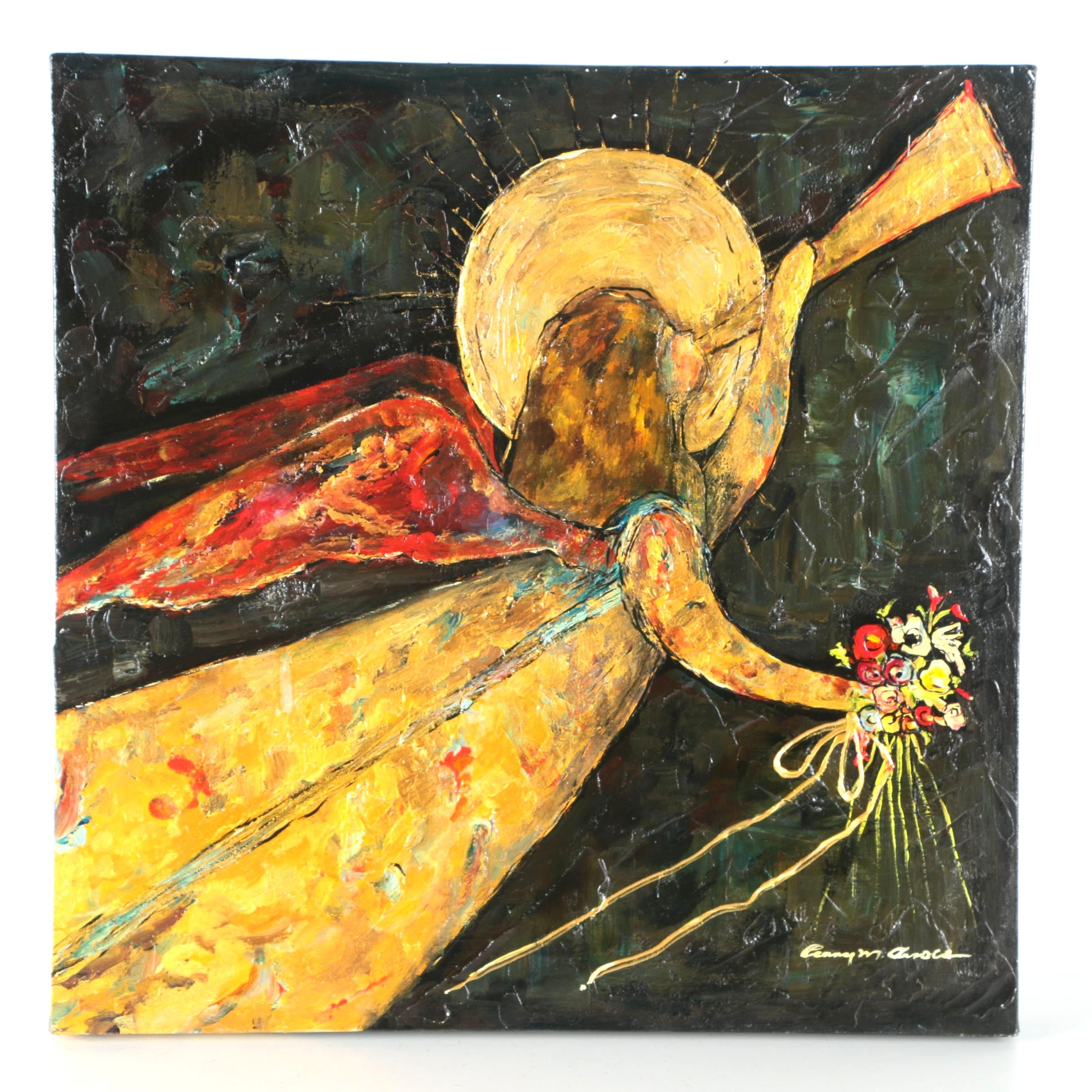 Penny M. Arnold Oil Painting of Angel With Trumpet and Flowers