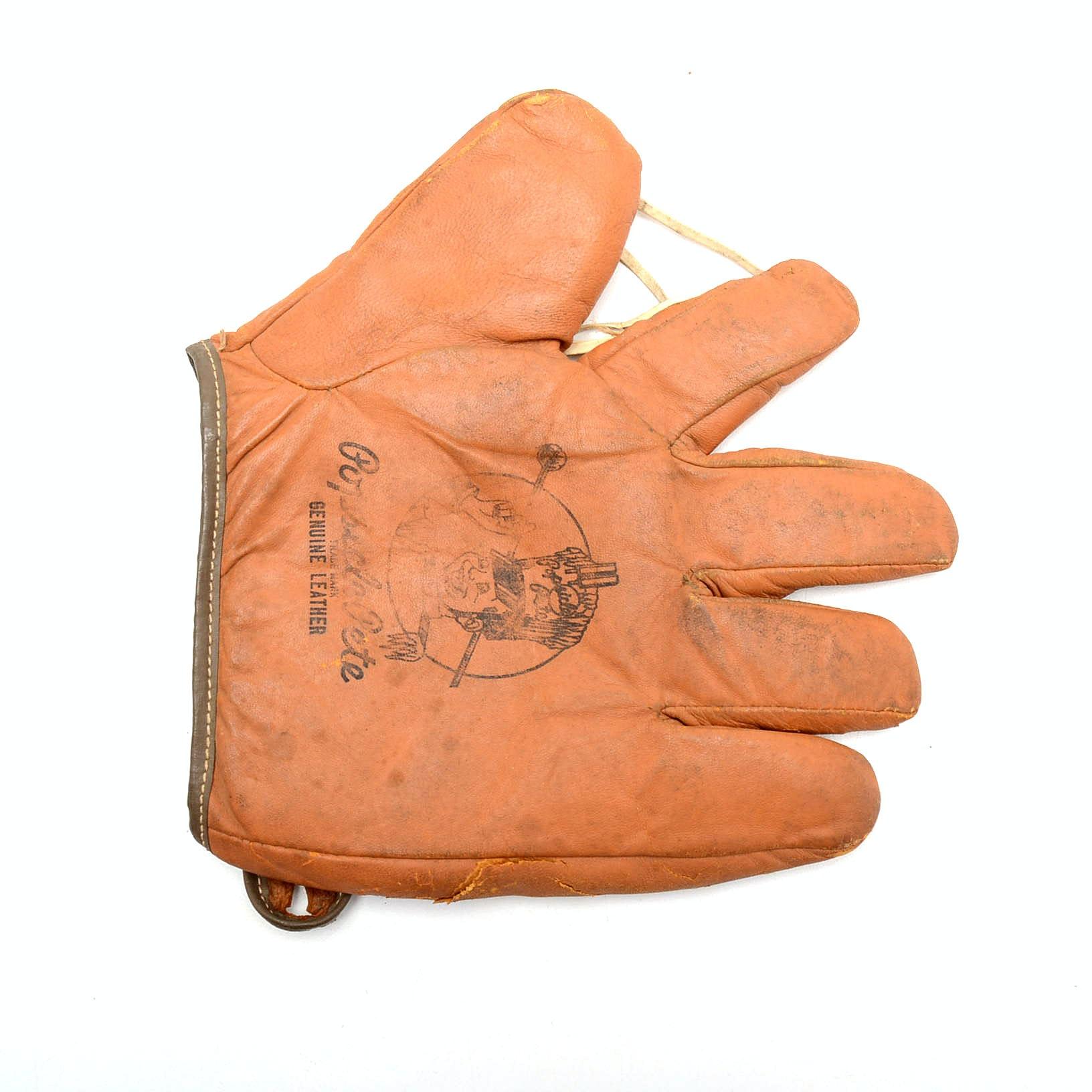 """1940s-1950s"""" Popsicle Pete"""" Advertising Baseball Glove"""