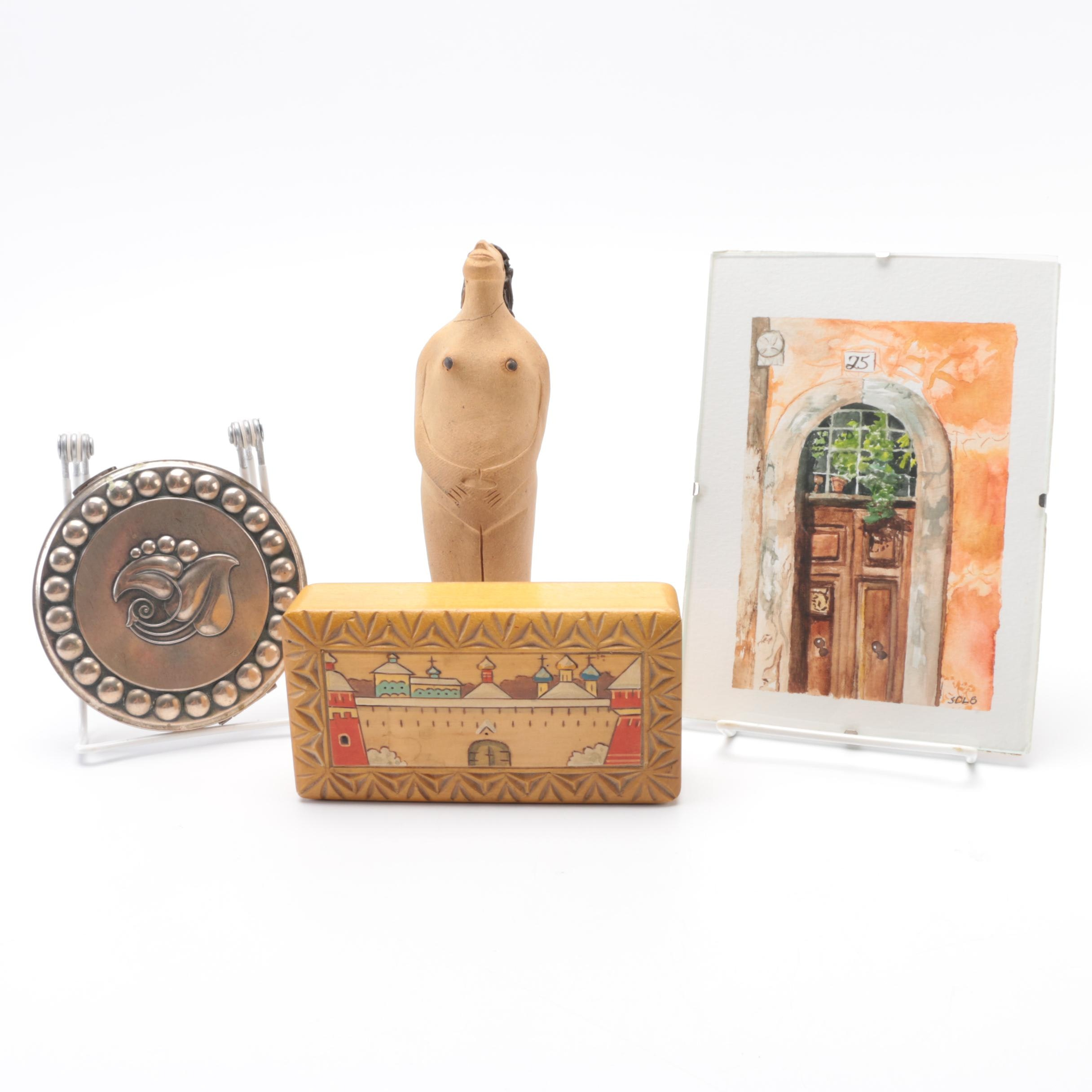 Eclectic Mix of Decorative Items includes Signed Watercolor
