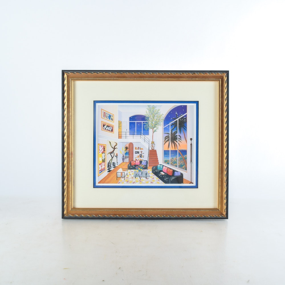 "Framed Seriolithograph after Francois Fanch Ledan ""Interior with Three Matisse"""