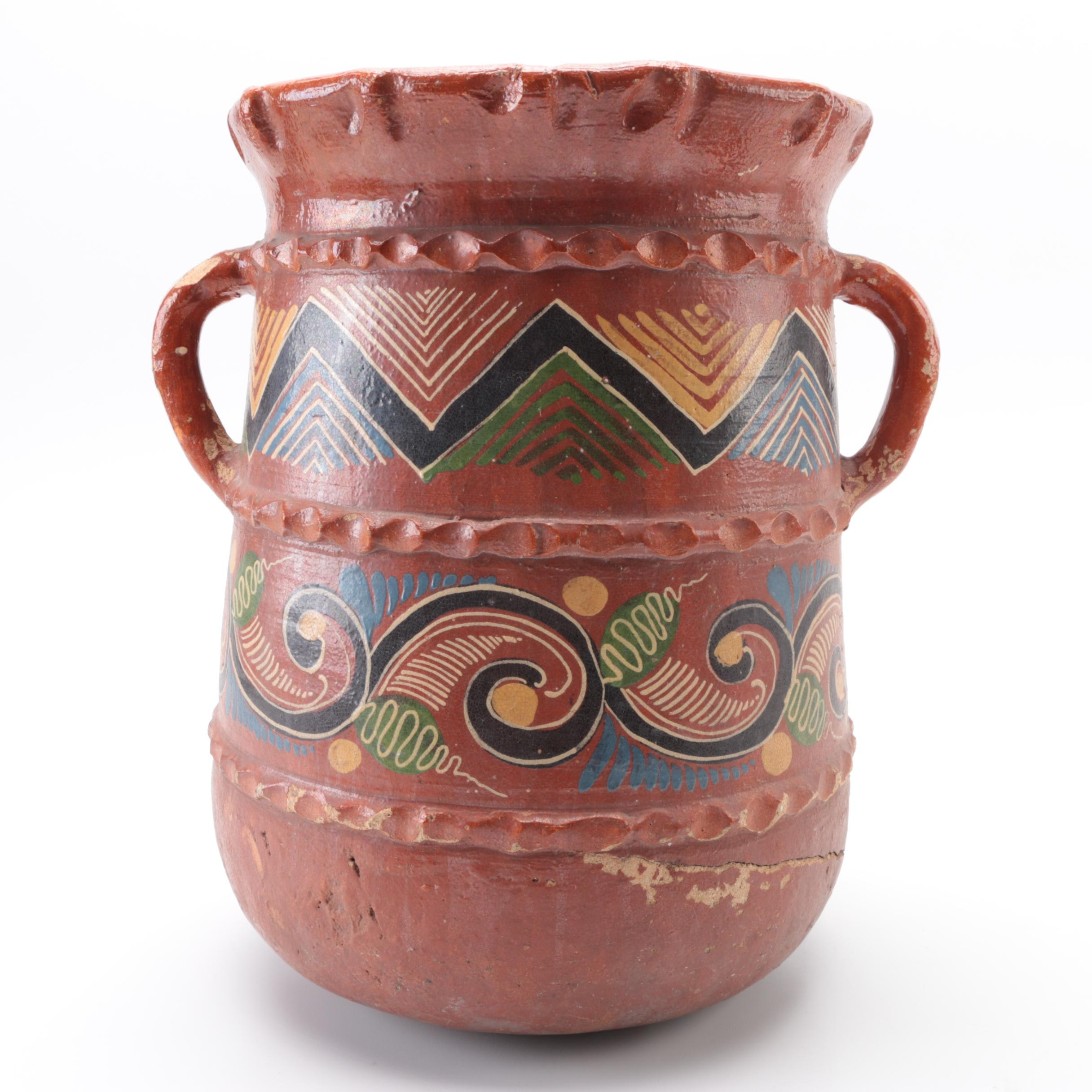 Hand-Painted Mexican-Style Double Handled Earthenware Vase