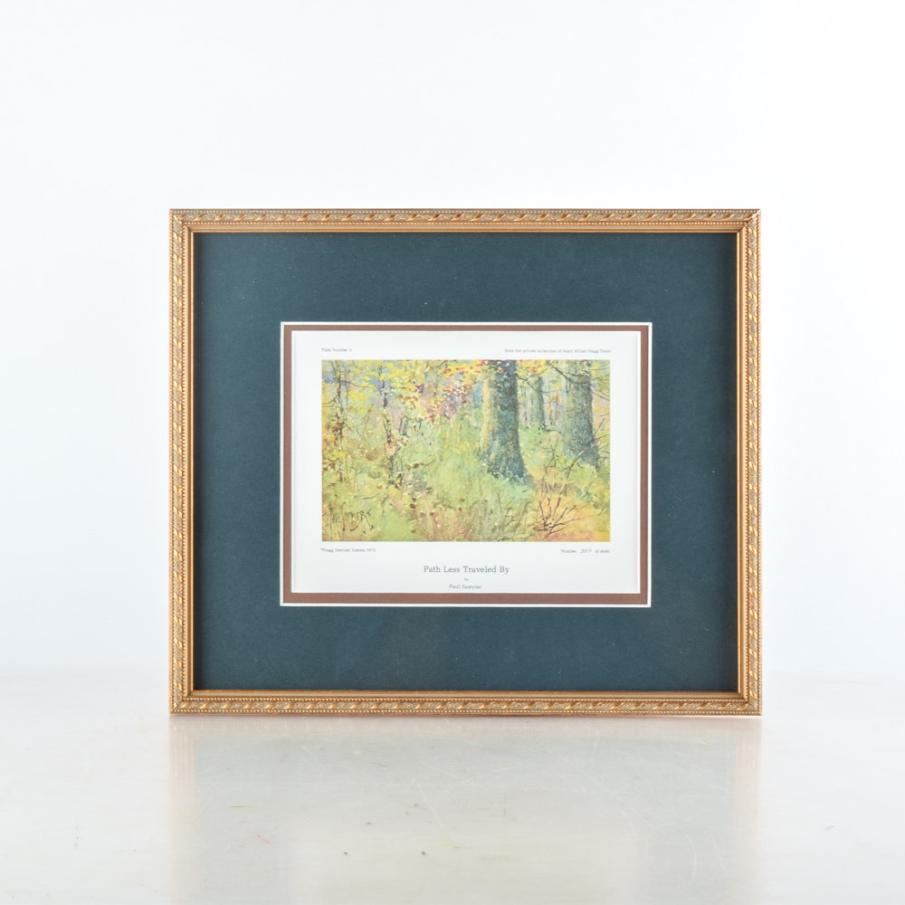 "Framed Limited Edition Offset Lithograph After Paul Sawyier ""Path Less Traveled By"""