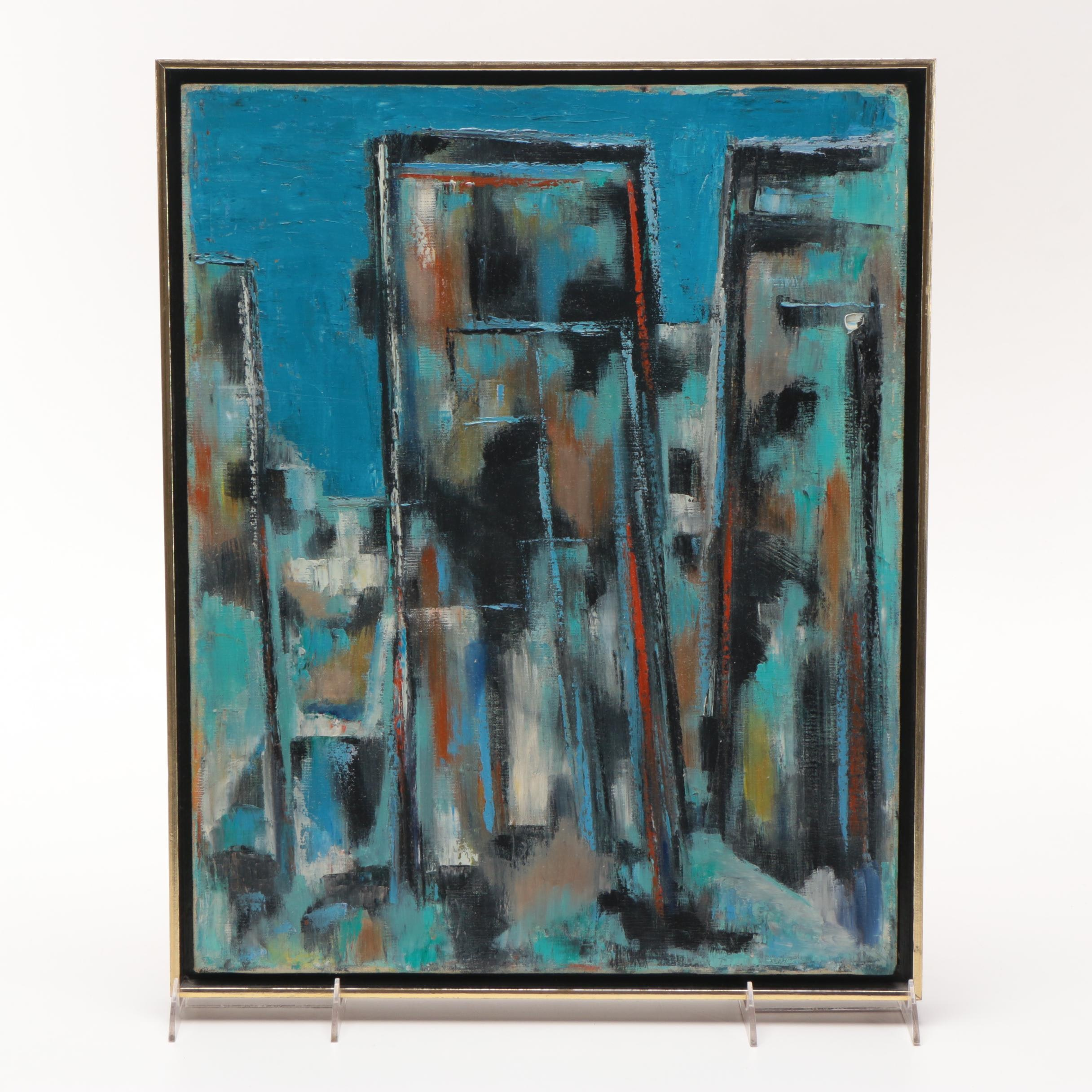 """1960 M. W. Dominick Abstract Oil Painting on Canvas """"Algerian"""""""
