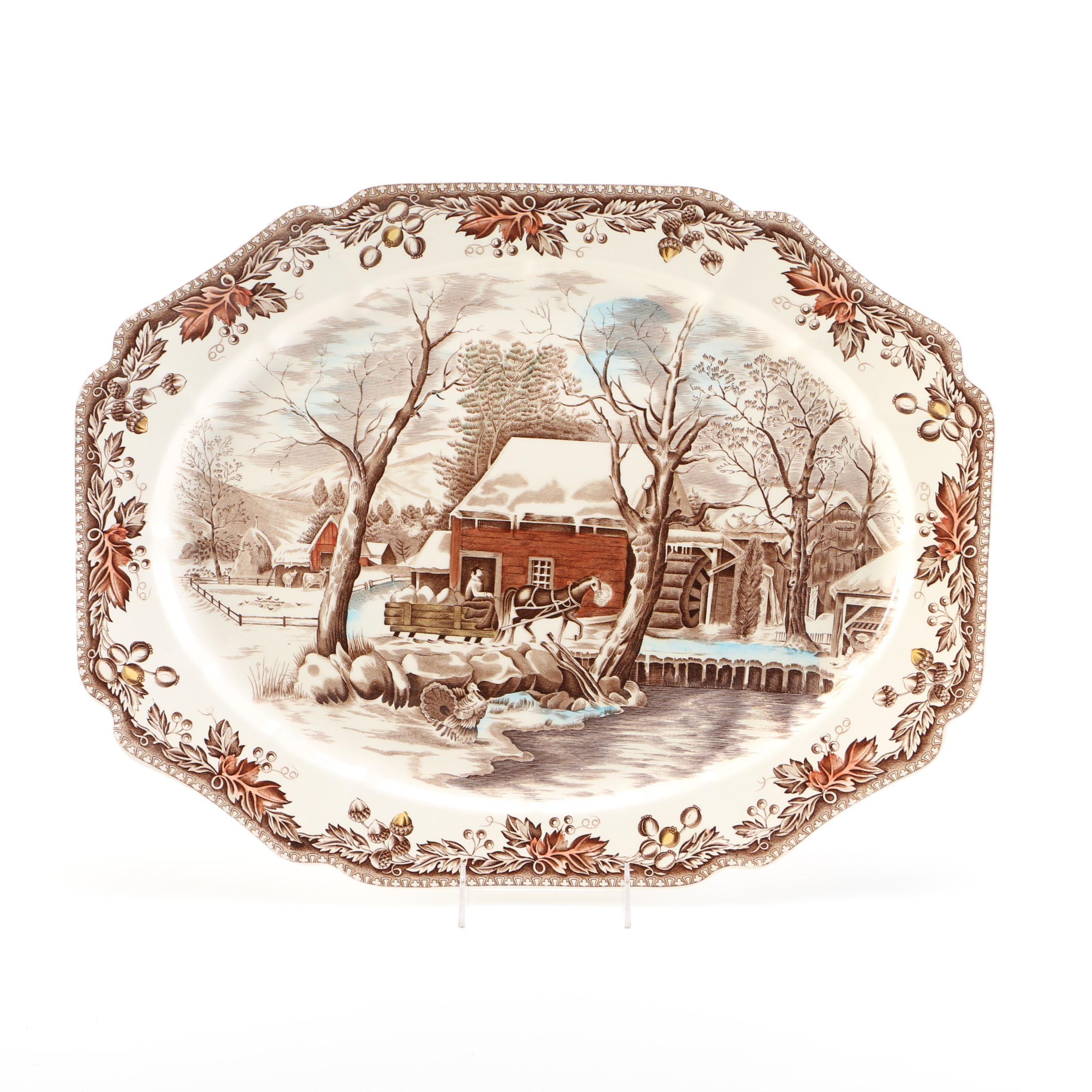 "Johnson Bros. ""Country Life""  Brown Transferware Serving Platter"