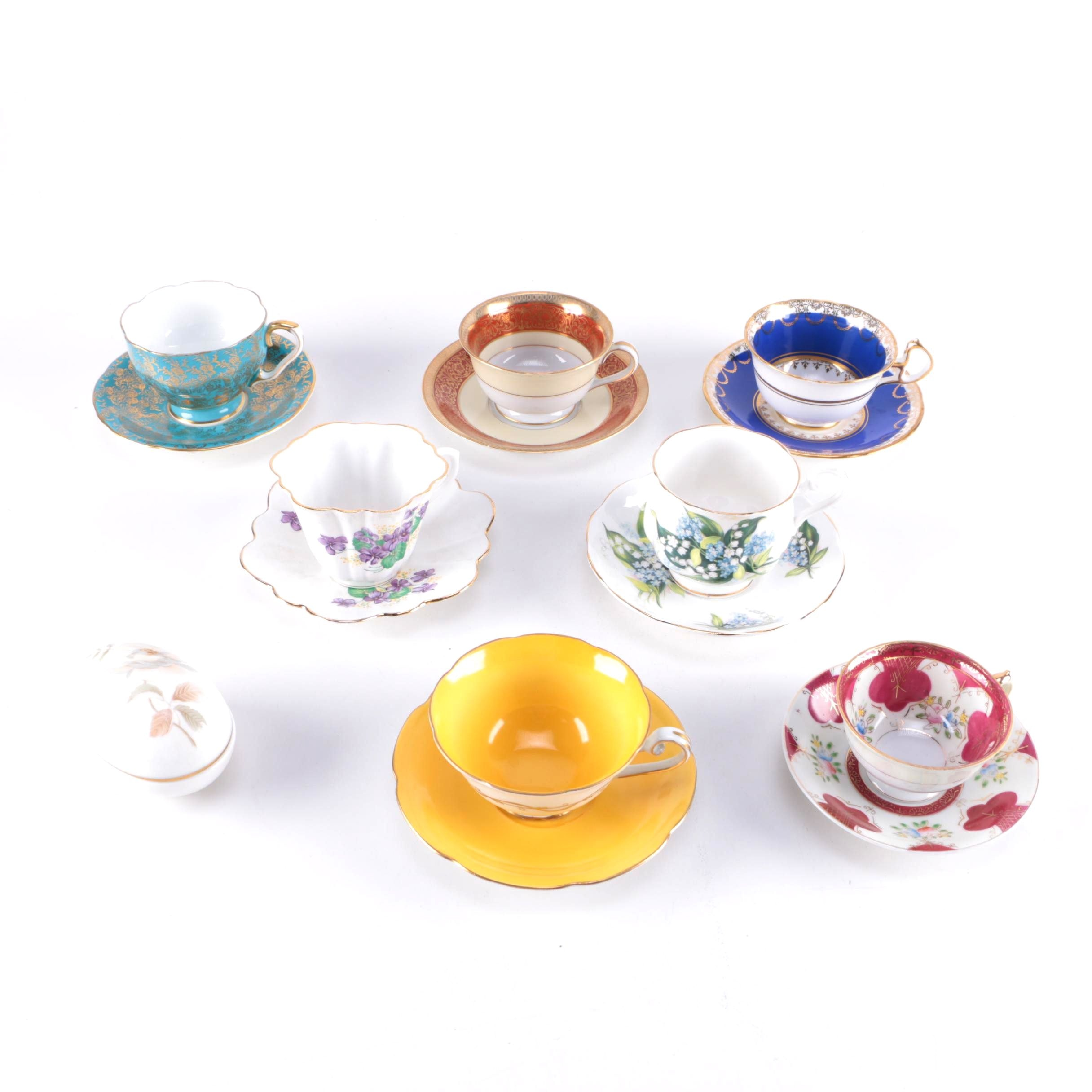 Collection of Bone China Teacups and Saucers and Egg