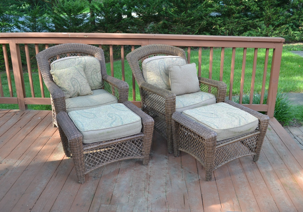 Pair of Wicker Armchairs and Ottomans