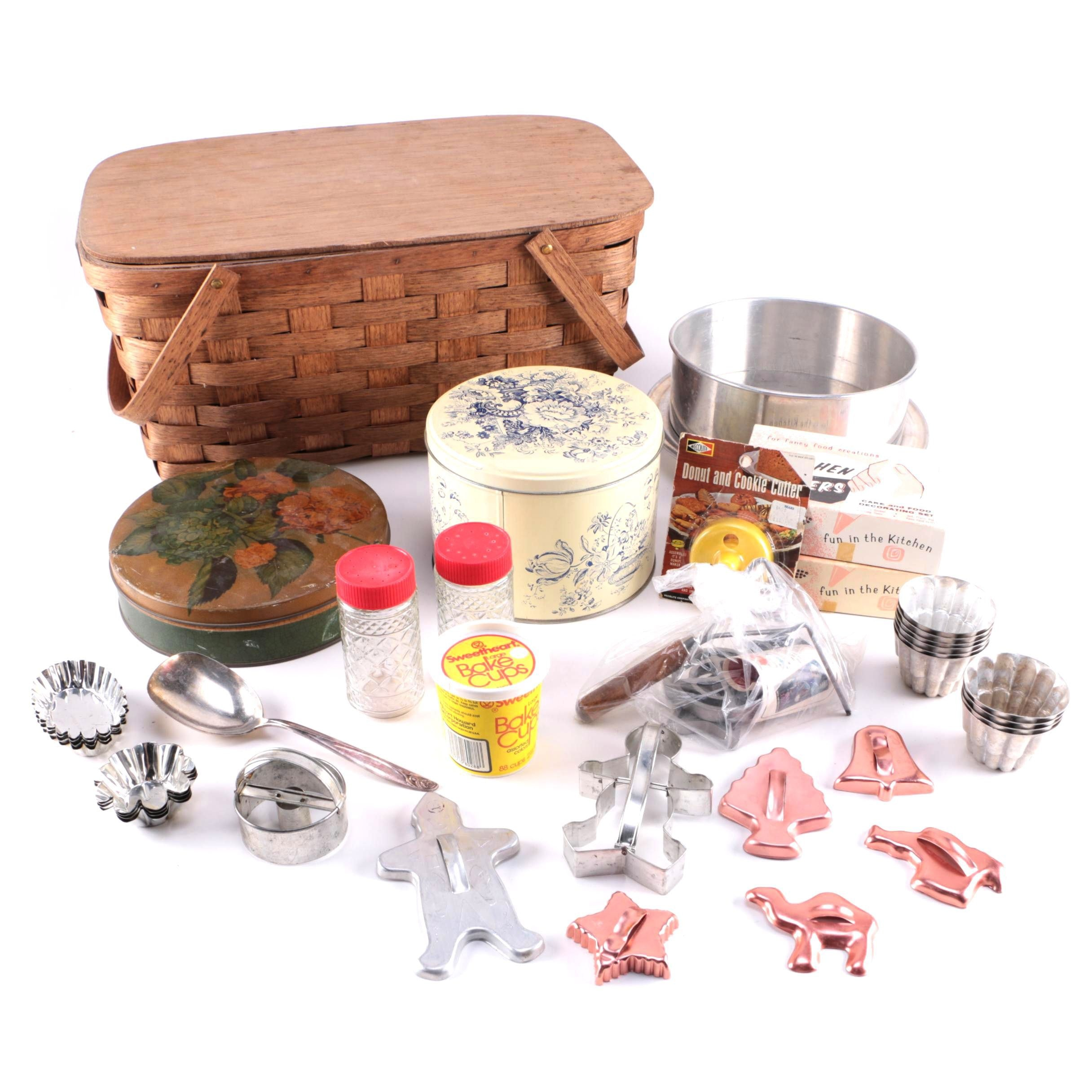 Vintage Baking Collection In Basket