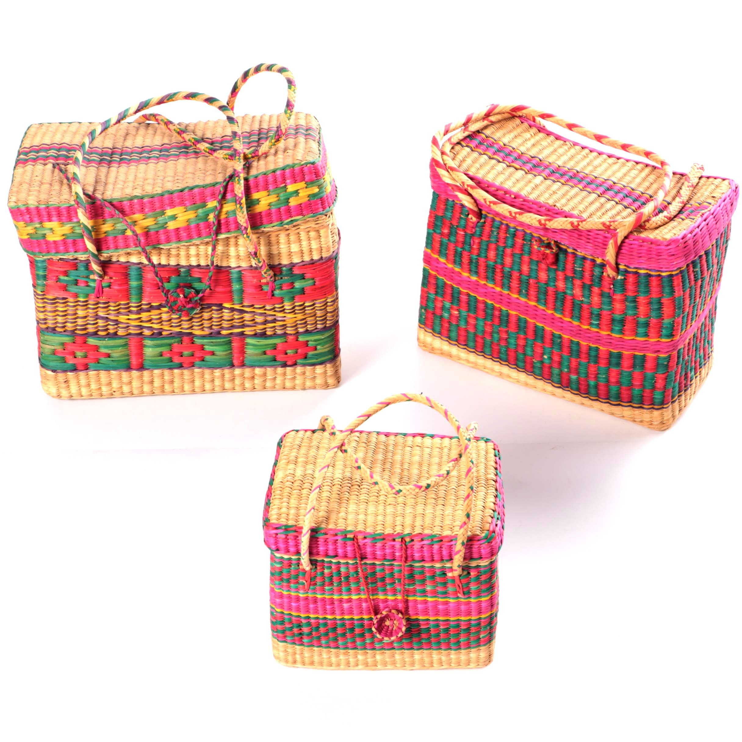 Collection of Three Pink and Green Woven Handbags
