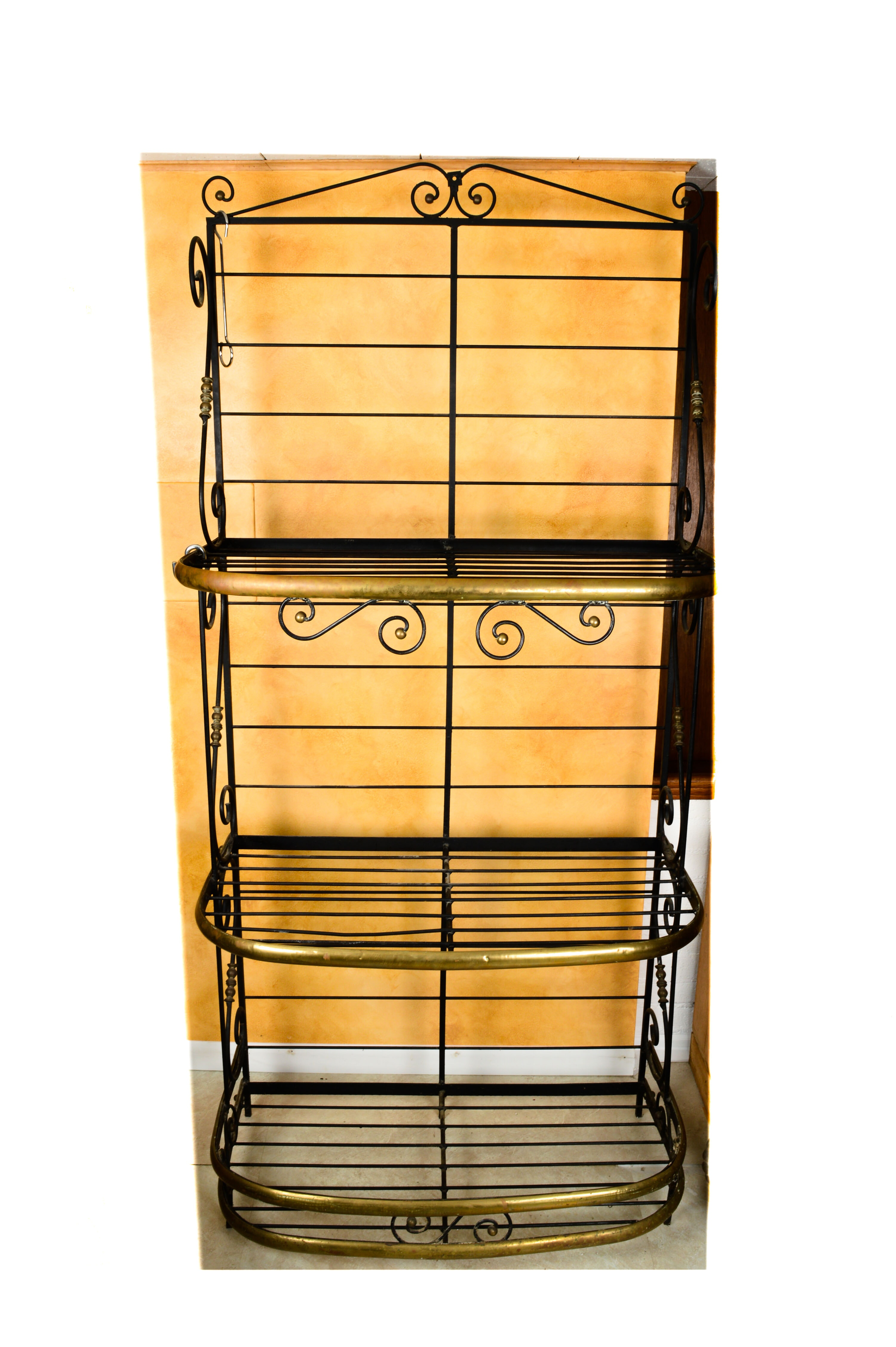 Vintage French Style Brass and Iron Baker's Rack