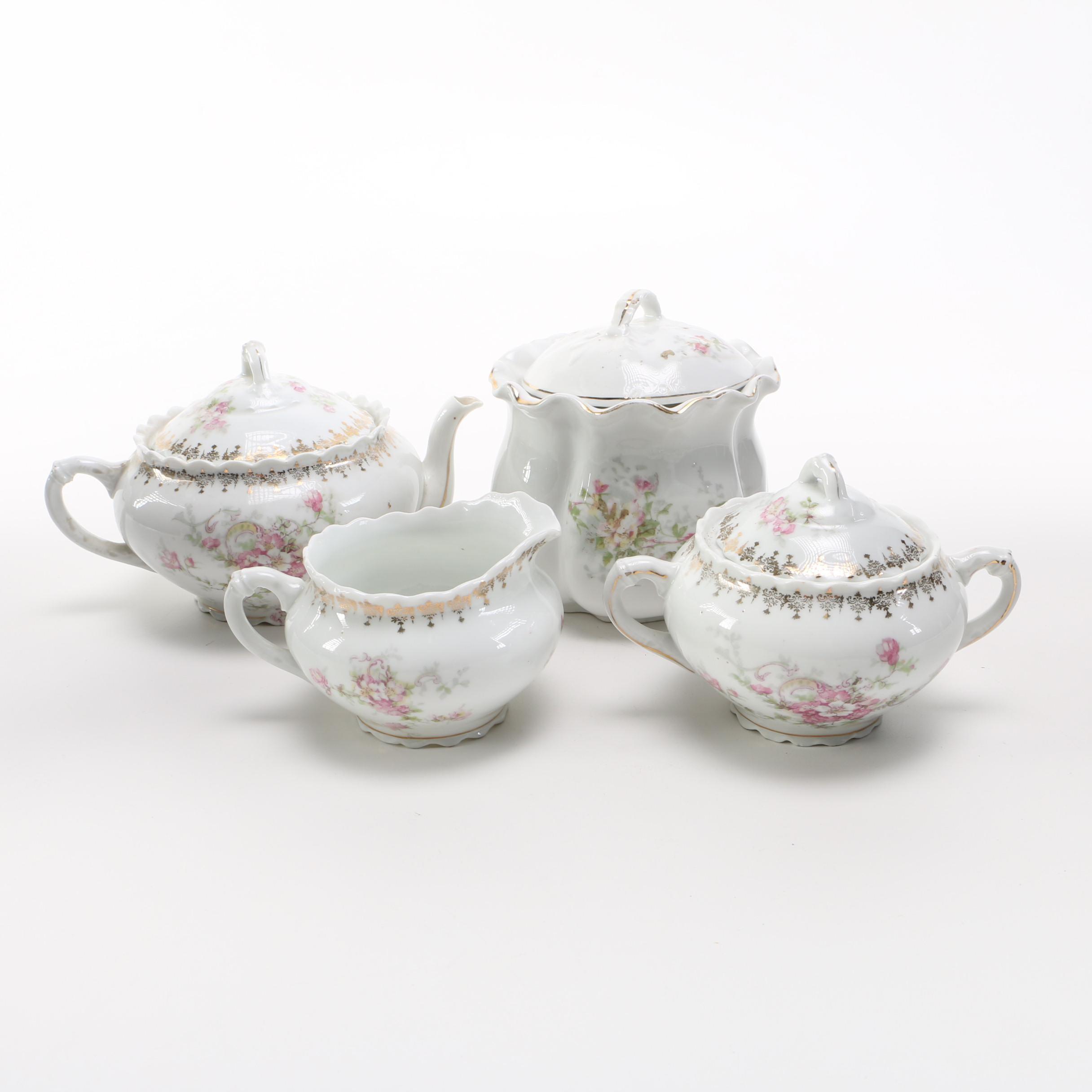 O. E. & G. Royal Austria Pink Floral Patterned Tea Set