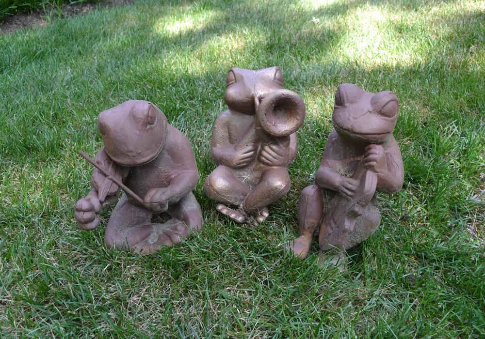 Cast Metal Garden Sculptures Of Frogs Playing Instruments ...