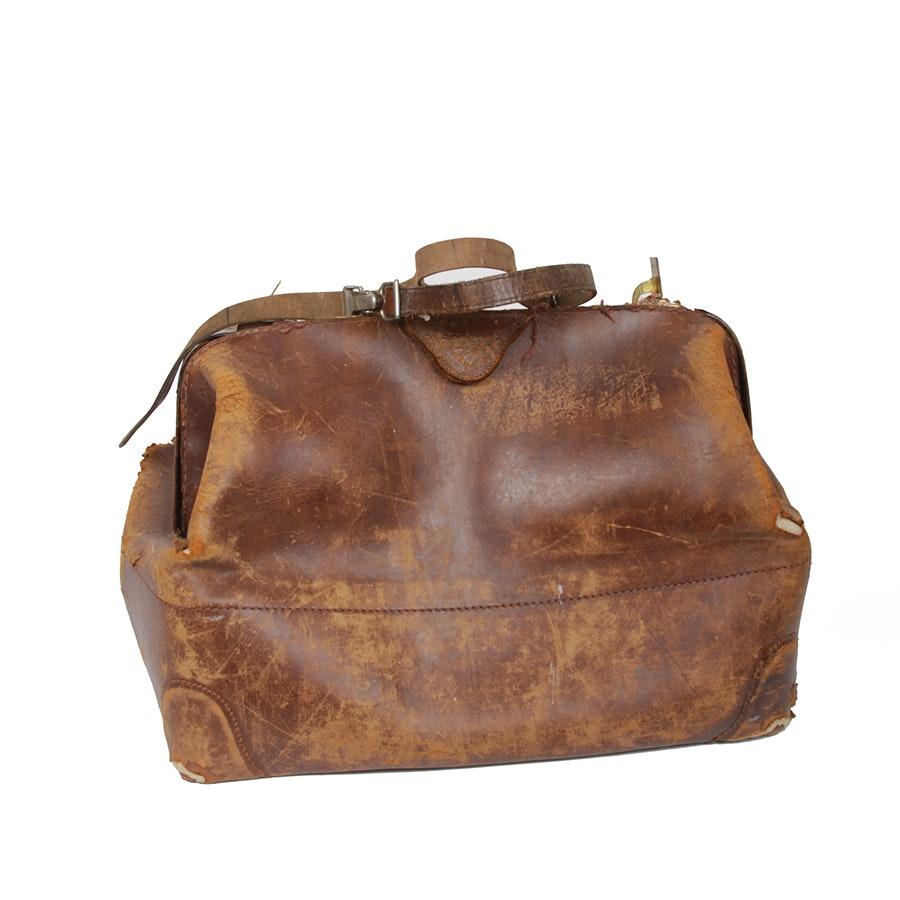 Vintage Brown Leather Doctor's Bag