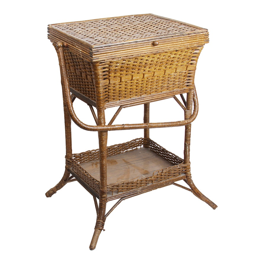 Antique Wicker Sewing Stand by Heywood Brothers & Wakefield Co.