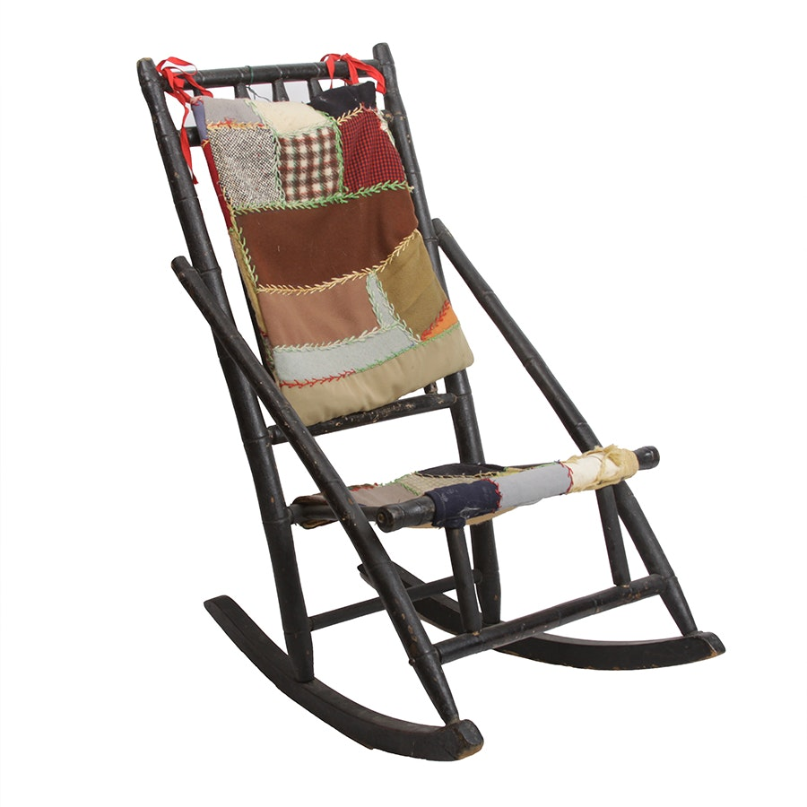 Antique Child's Bamboo-Turned Rocking Chair