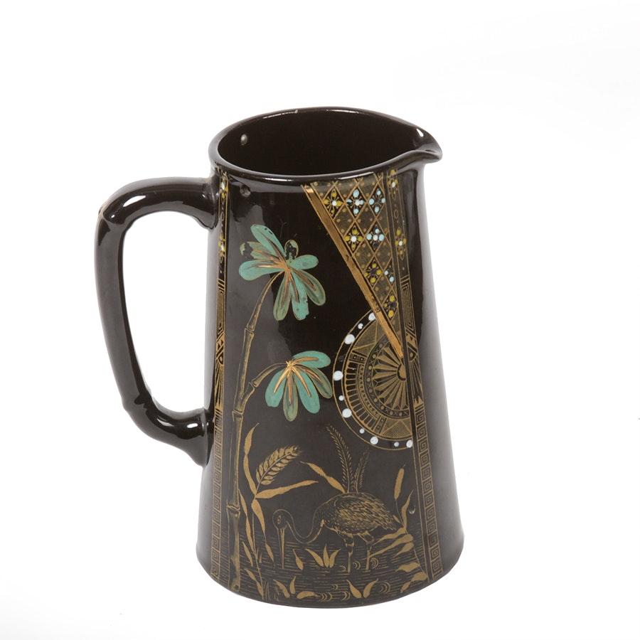 Antique Victorian Black Ceramic Pitcher